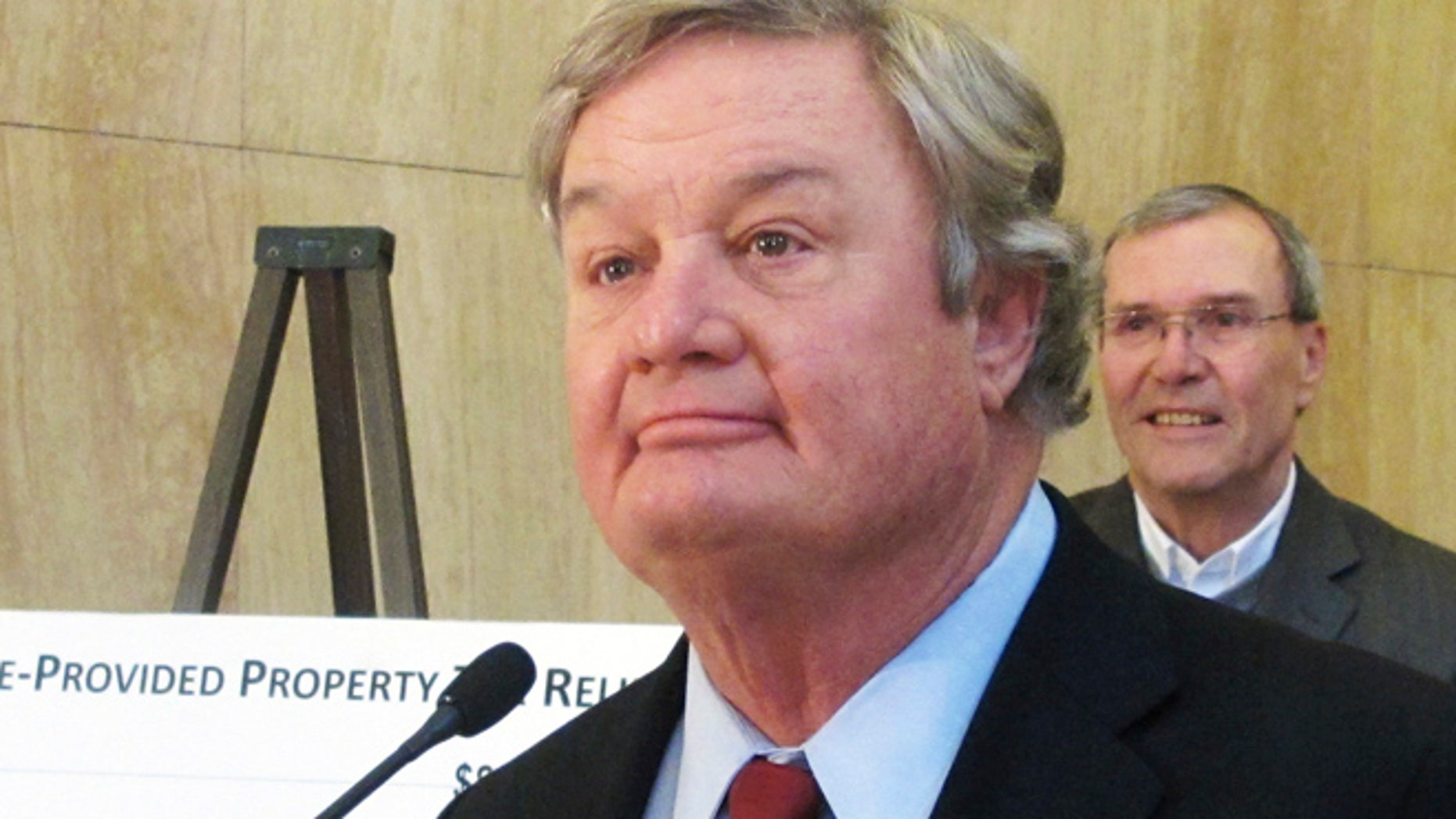 Dec. 3, 2013: North Dakota Gov. Jack Dalrymple speaks at a news conference at the state Capitol in Bismarck. (AP)