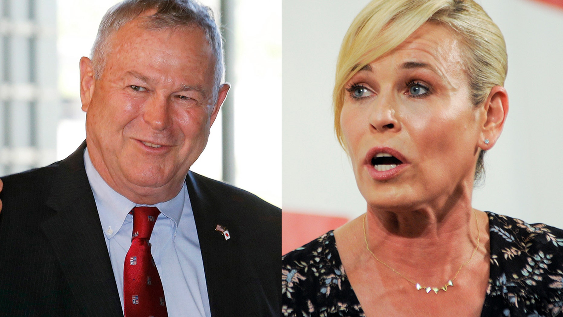 Chelsea Handler (right) mistakenly referred to Rep. Dana Rohrabacher (left) as a woman.