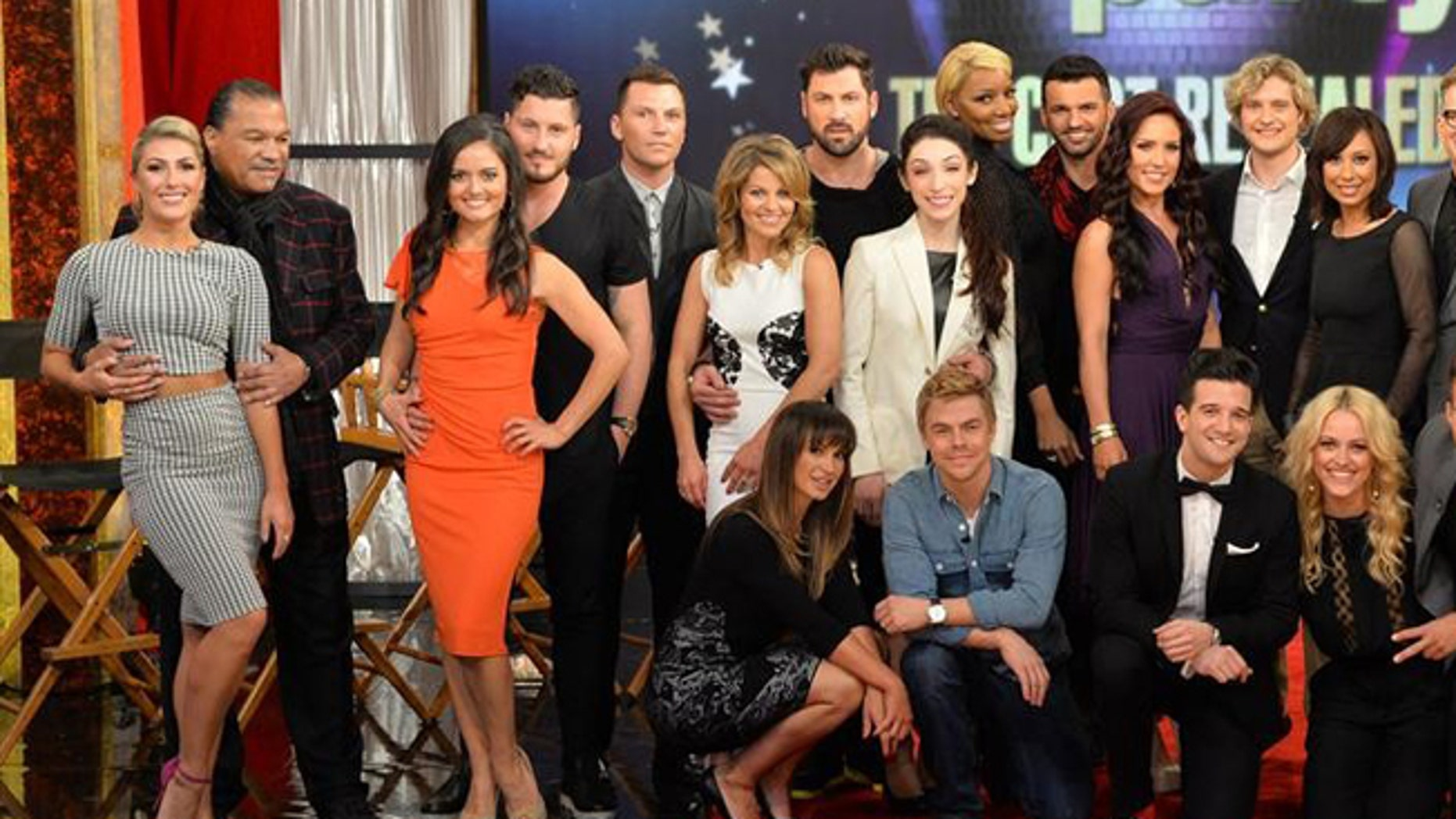"""GOOD MORNING AMERICA - """"Dancing with the Stars"""" - This season's dynamic lineup of stars -- including two Olympic Gold Medalists, a game show host, a swimming legend and a teen pop star - will perform for the first time on live national television with their professional partners during the two-hour season premiere of """"Dancing with the Stars,"""" MONDAY, MARCH 17 (8:00-10:01 p.m., ET) on the ABC Television Network. (ABC/Todd Wawrychuk)STANDING: EMMA SLATER, BILLY DEE WILLIAMS, DANICA MCKELLAR, VALENTIN CHMERKOVSKIY, SEAN AVERY, CANDACE CAMERON BURE, MAKSIM CHMERKOVSKIY, MERYL DAVIS, NENE LEAKES, TONY DOVOLANI, SHARNA BURGESS, CHARLIE WHITE, CHERYL BURKE, DREW CAREY, DIANA NYAD, HENRY BYALIKOV; SITTING: KARINA SMIRNOFF, DEREK HOUGH, MARK BALLAS, PETA MURGATROYD, JAMES MASLOW, WITNEY CARSON, CODY SIMPSON"""