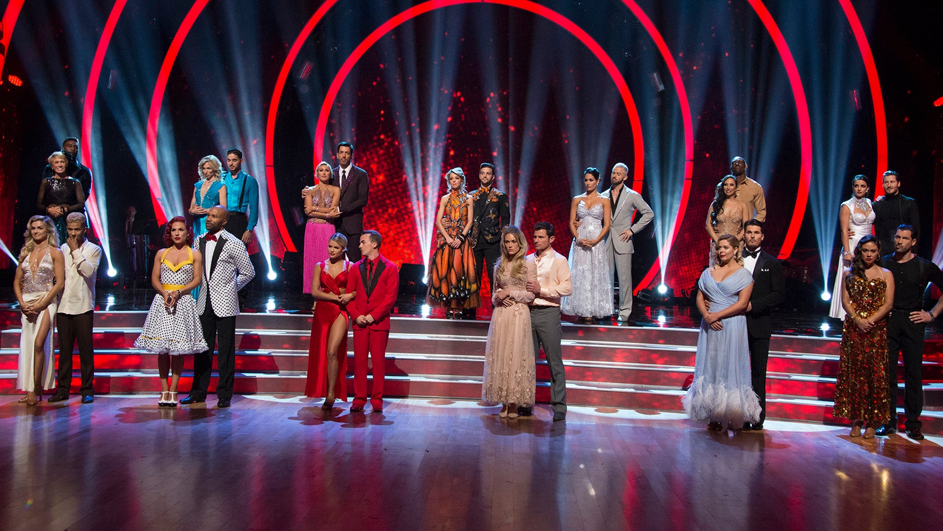 The remaining pairs on 'Dancing with the Stars' pose on stage.