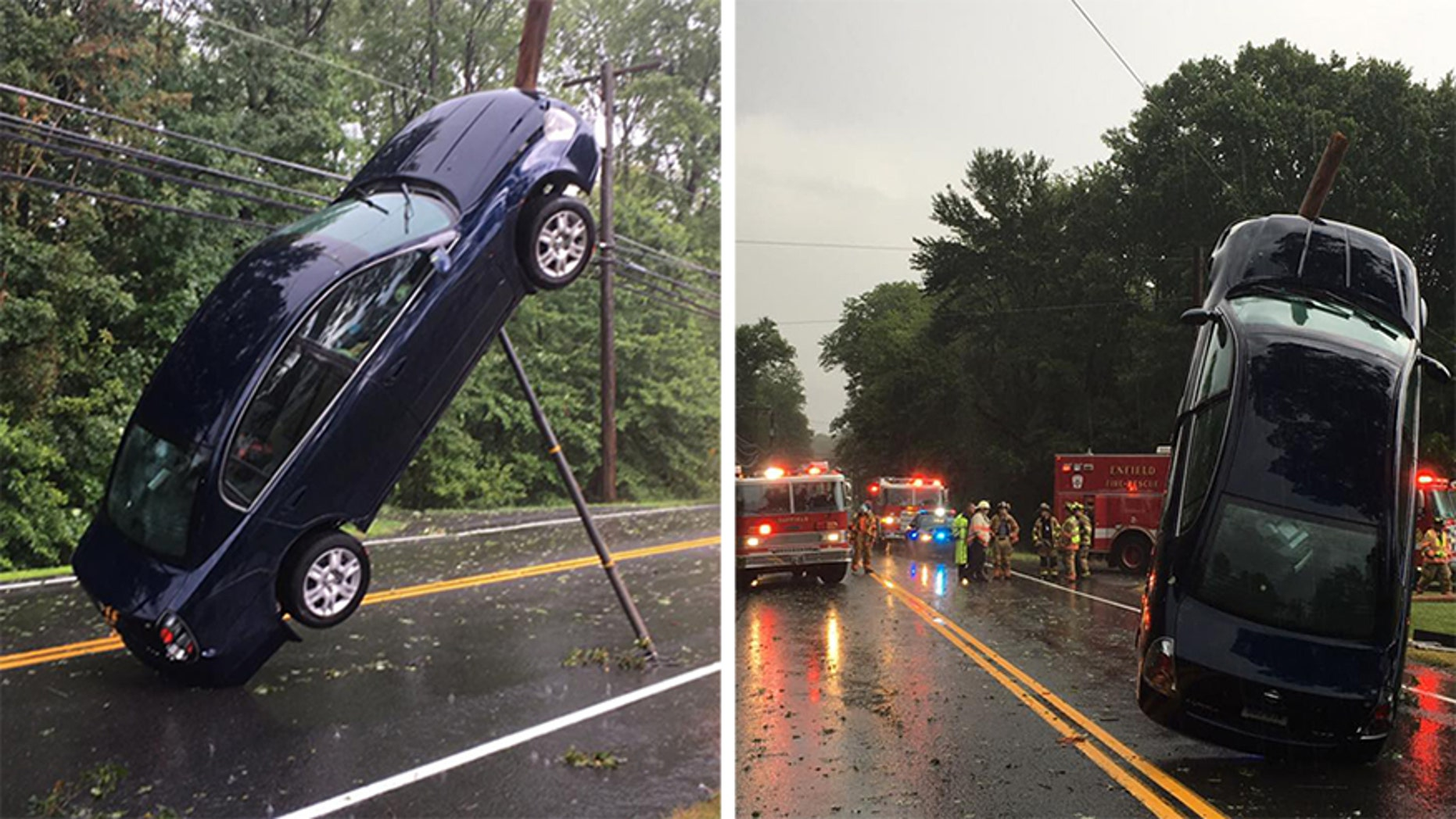 Car got tangled with fallen cables and dangled for nearly an hour in Connecticut.