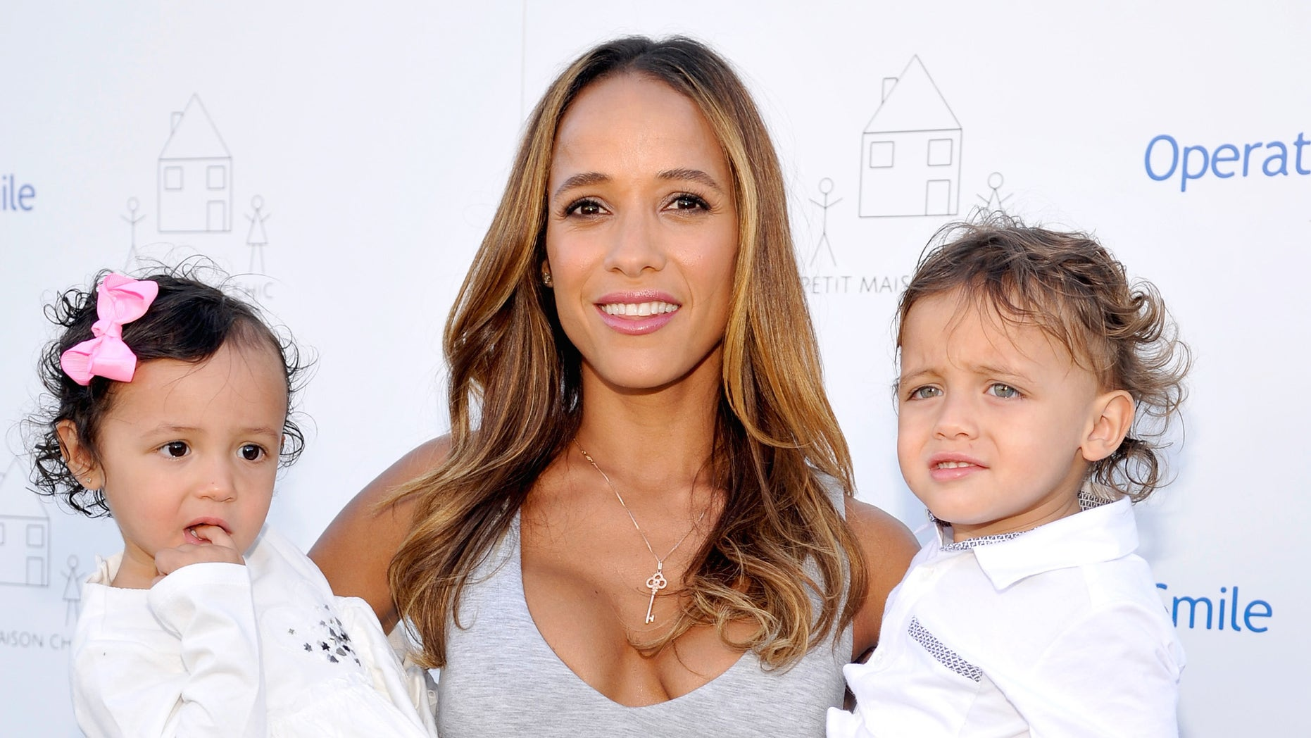 Dania Ramirez and daughter Gaia and son John on November 21, 2015 in Beverly Hills, California.