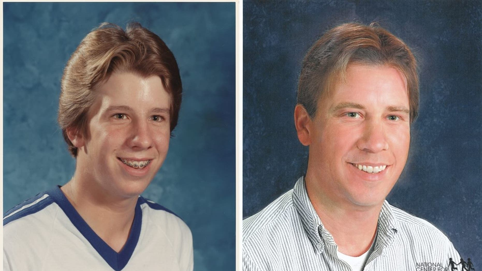 Naylor, left, is pictured at age 14 in 1982. Naylor's age-progressed image, right, shows what he would have looked like 2012.
