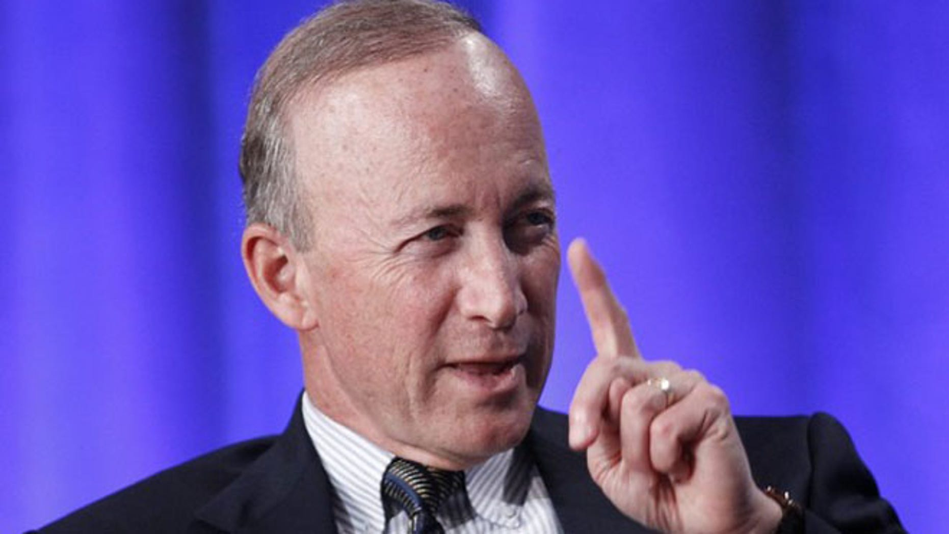 FILE: May 1, 2012: Indiana Gov. Mitch Daniels takes part in a panel discussion at the Milken Institute Global Conference in Beverly Hills, Calif.