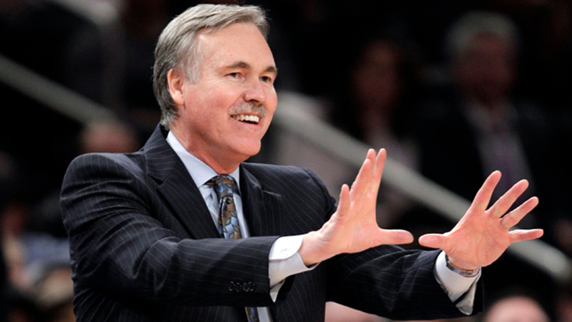 Feb. 22, 2012: Then-New York Knicks coach Mike D'Antoni gestures in the second half of an NBA basketball game against the Atlanta Hawks in  New York. (AP)