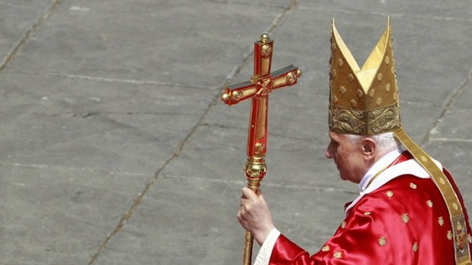 Pope Benedict XVI leaves at the end of the Palm Sunday mass at the Vatican April 17, 2011.