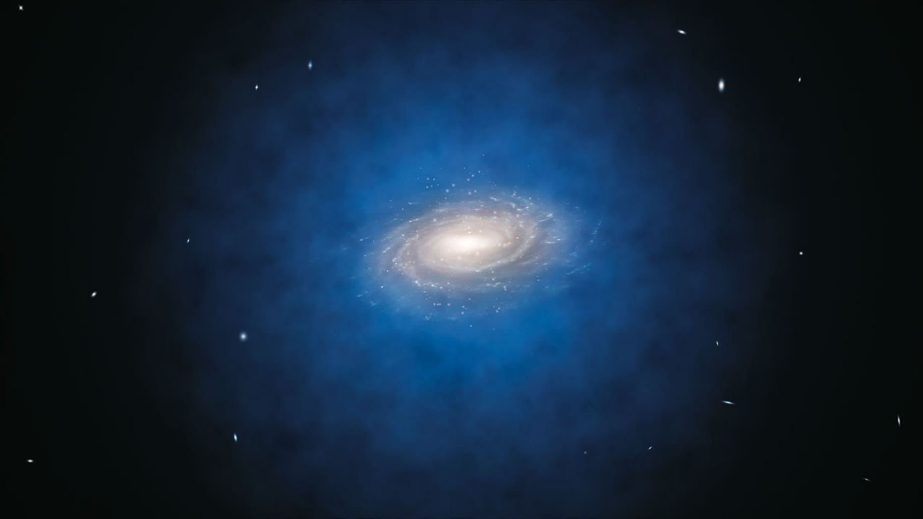April 18, 2012: The most accurate study so far of the motions of stars in the Milky Way has found no evidence for dark matter in a large volume around the Sun. The blue halo of material surrounding the Milky Way in this artist's impression indicates the previously expected distribution of the mysterious dark matter.