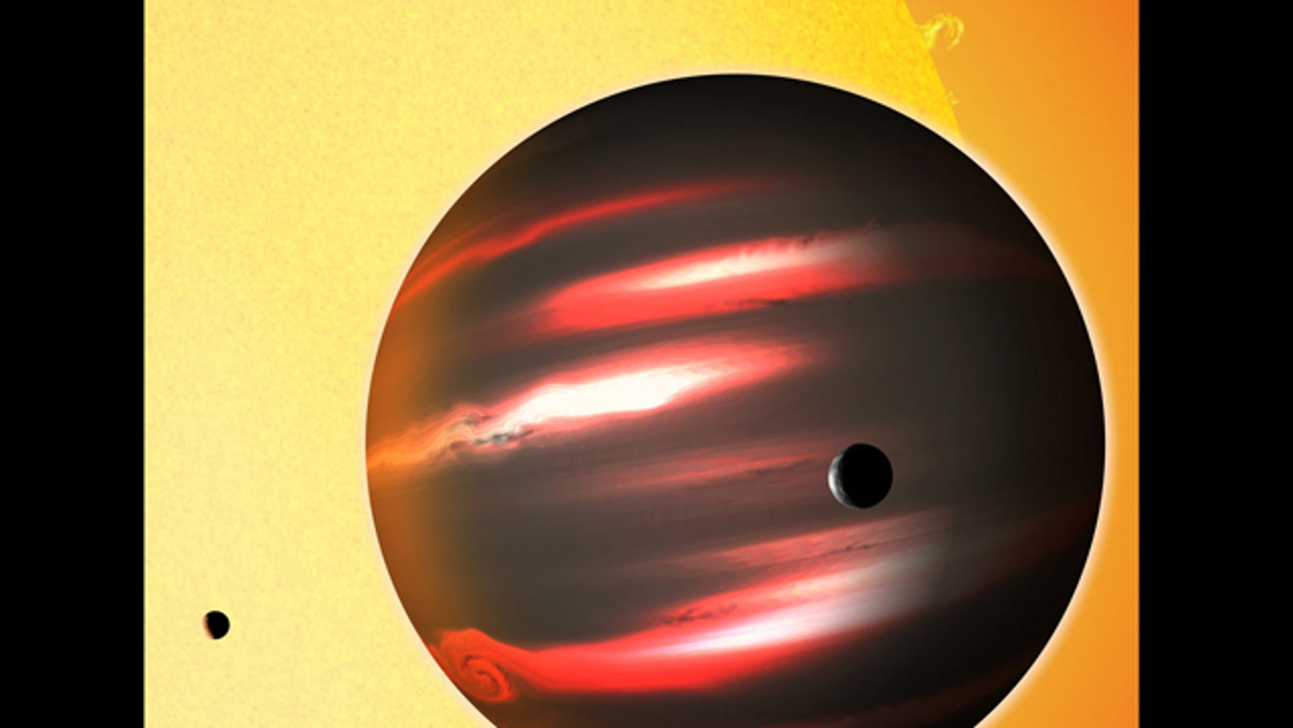 The distant exoplanet TrES-2b, shown here in an artist's conception, is darker than the blackest coal. This Jupiter-sized world reflects less than one percent of the light that falls on it, making it blacker than any planet or moon in our solar system.