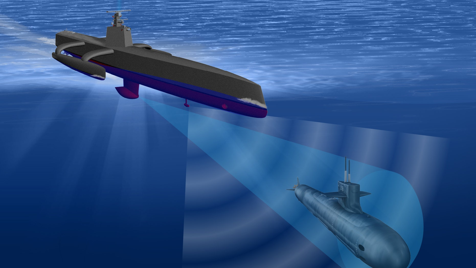Illustration of DARPA's Anti-Submarine Warfare (ASW) Continuous Trail Unmanned Vessel (ACTUV)