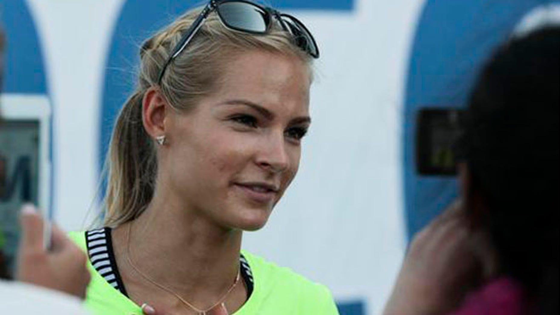 Russia's long jumper Darya Klishina speaks at a track meet in June.