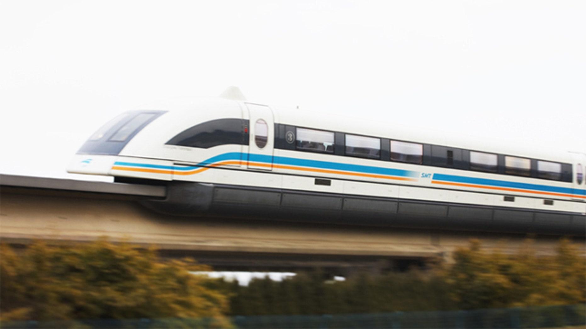 A maglev train runs from Shanghai International airport to Pudong, Shanghai, China.
