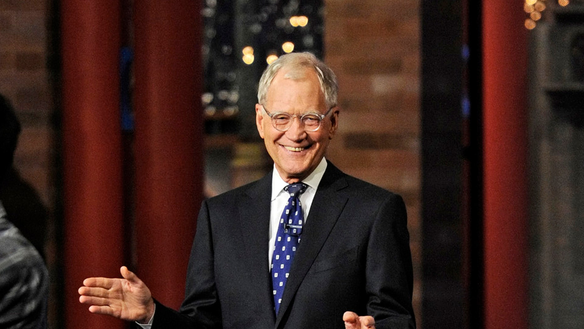 """In this image released by CBS, David Letterman appears during a taping of his final """"Late Show with David Letterman"""" Wednesday, May 20, 2015 at the Ed Sullivan Theater in New York."""
