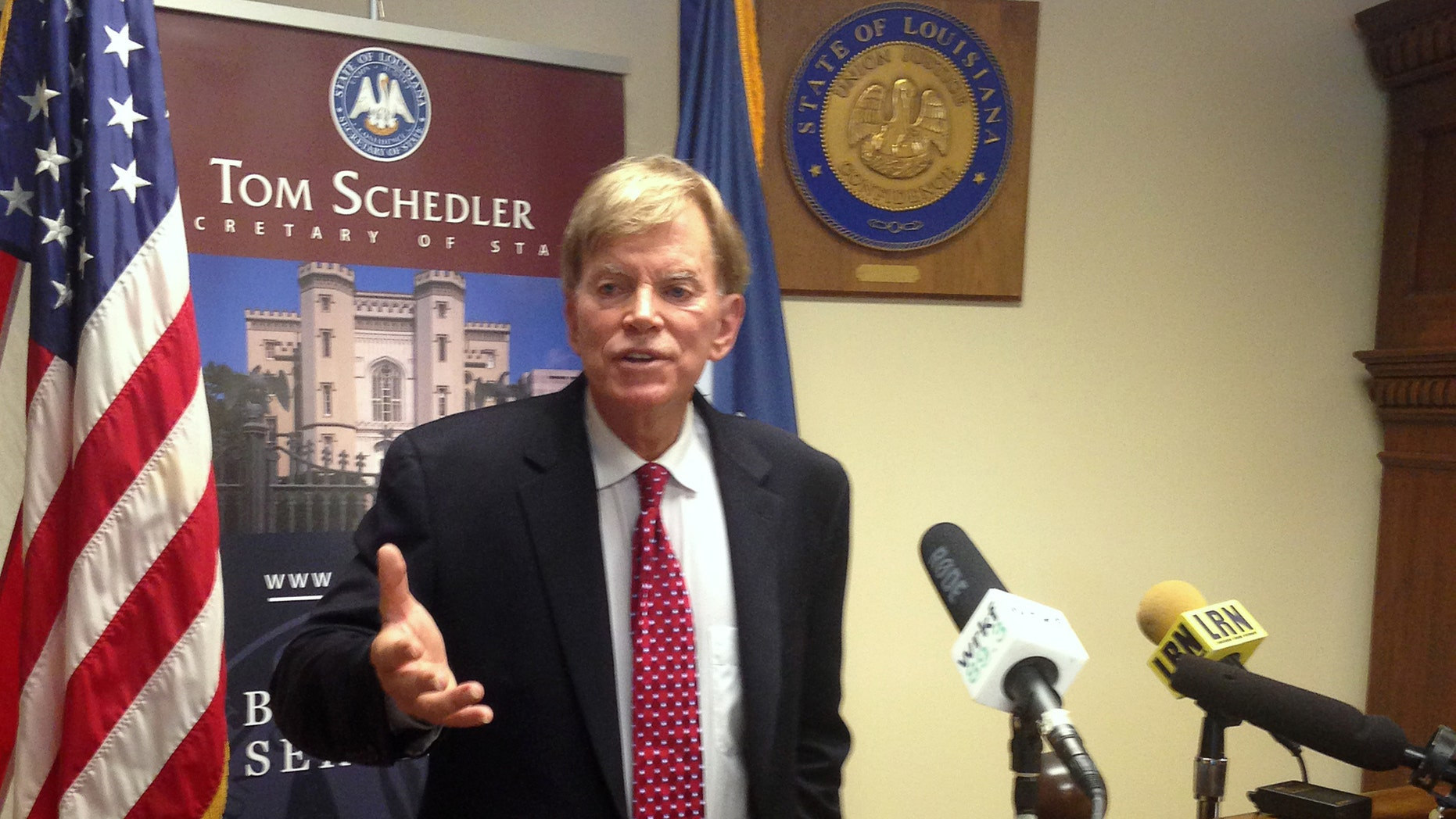 File photo - Former leader of the Ku Klux Klan David Duke speaks to media at the Louisiana Secretary of State's office after filing to run as a Republican for United States Senate in Baton Rouge, Louisiana, U.S. July 22, 2016. (REUTERS/Bryn Stole)