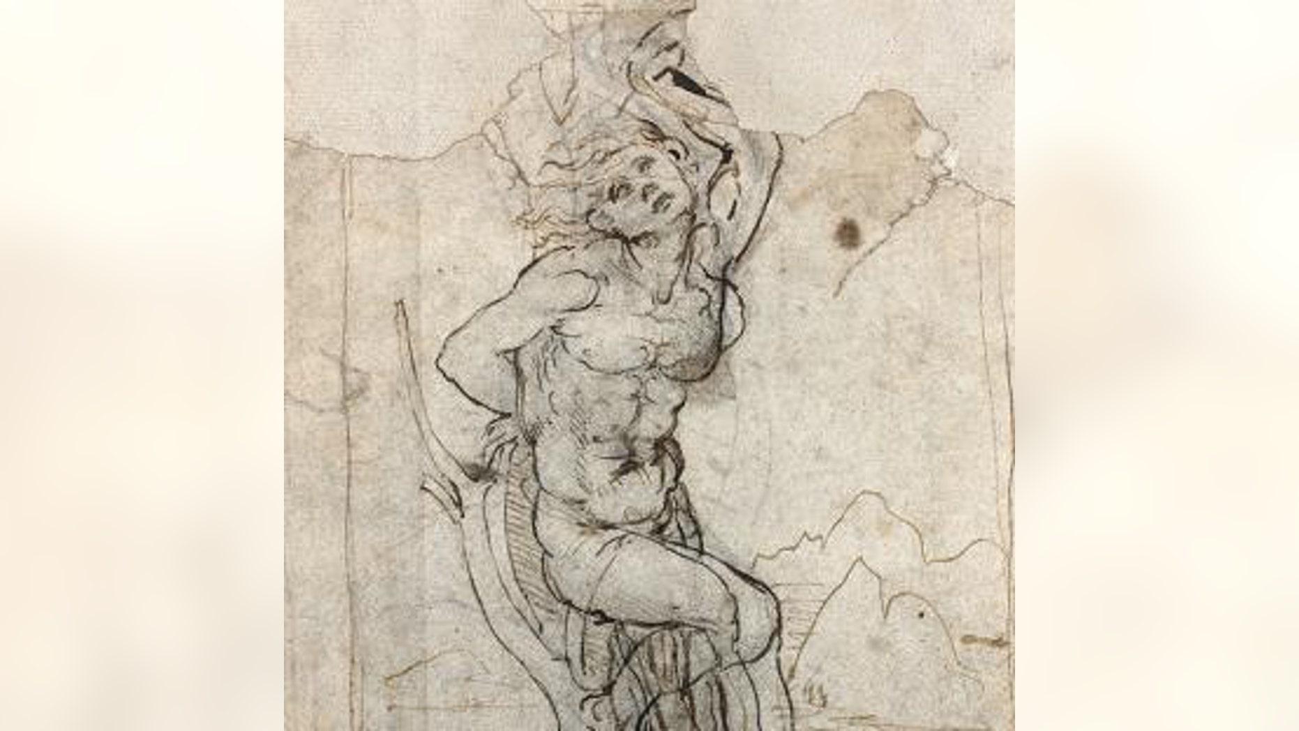 Leonardo Da Vinci's drawing of St. Sebastian (Tajan).