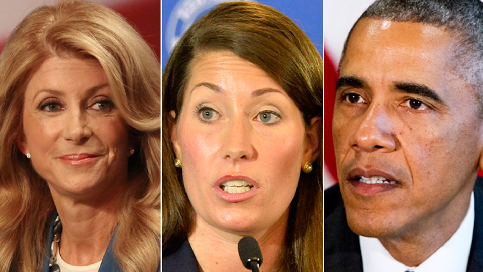 Democratic Gubernatorial candidate,Texas State Senator Wendy Davis on Tuesday Sept. 30, 2014 in Dallas, Texas. Kentucky Democratic Senate candidate Alison Lundergan Grimes in Louisville, Ky on Aug. 20, 2014 and President Barack Obama at the Pentagon on Wednesday, Oct. 8, 2014.