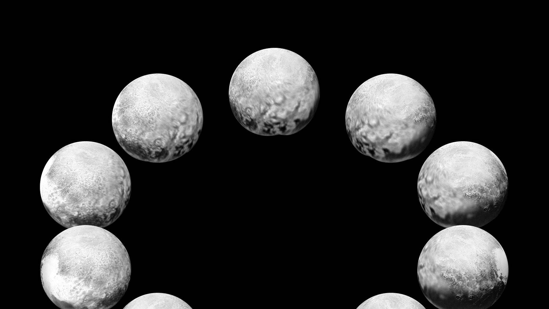 """In July 2015, the cameras on NASA's New Horizons spacecraft captured Pluto rotating over the course of a full """"Pluto day."""" The best available images of each side of Pluto taken during approach have been combined to create this view of a full rotation. ( NASA/Johns Hopkins University Applied Physics Laboratory/Southwest Research Institute)"""