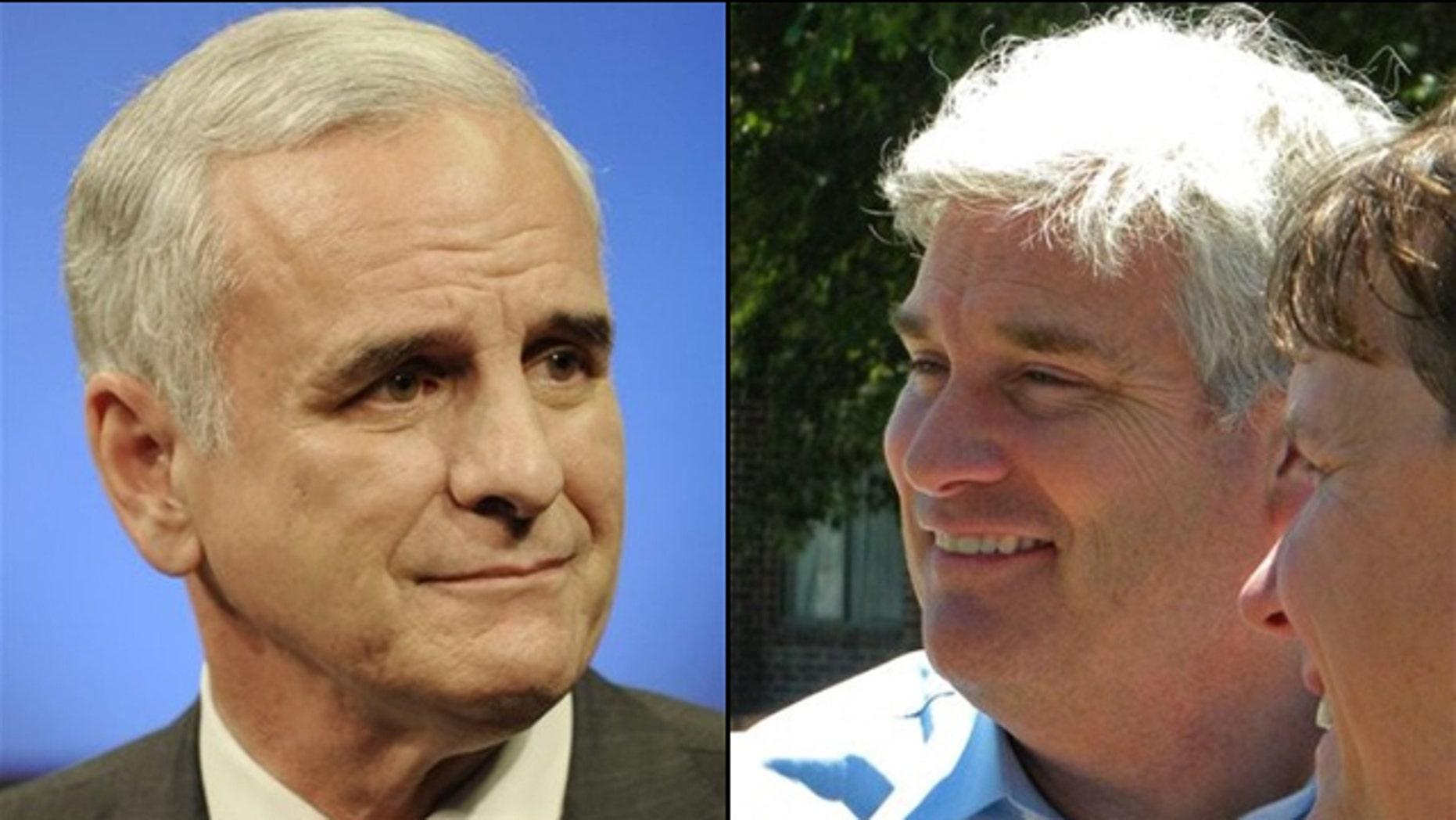 Democratic gubernatorial candidate Mark Dayton, (l), and Republican gubernatorial candidate Tom Emmer, (r) are seeking to become Minnesota's next governor. (AP)