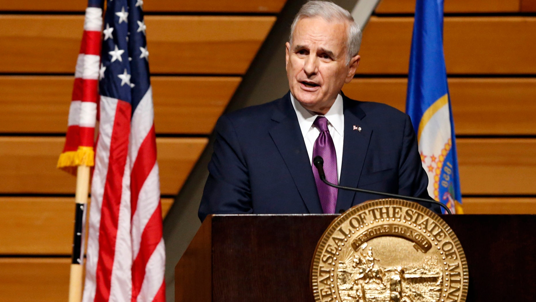 FILE - In this March 9, 2016, file photo, Minnesota Democratic Gov. Mark Dayton delivers his State of the State address at the University of Minnesota in Minneapolis.
