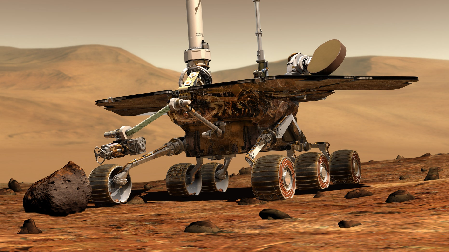 This artist rendering released by NASA shows the NASA rover Opportunity on the surface of Mars. Opportunity landed on the red planet on Jan. 24, 2004 and is still exploring. Its twin Spirit stopped communicating in 2010.