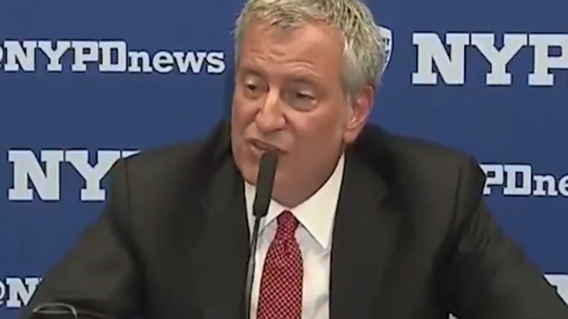 Aug 11: New York's Mayor Bill deBlasio addresses the media.