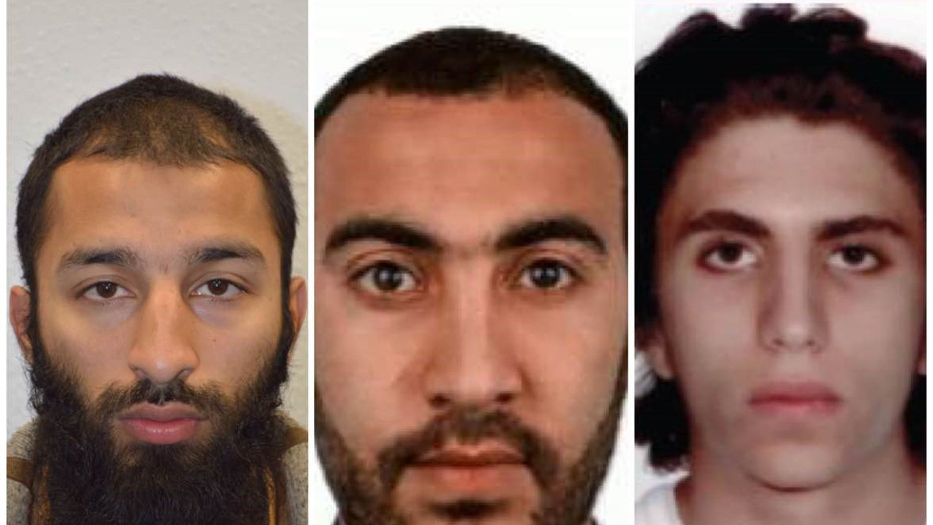 The London attackers were identified as Khuram Shazad Butt, left, Rachid Redouane and Youssef Zaghba.