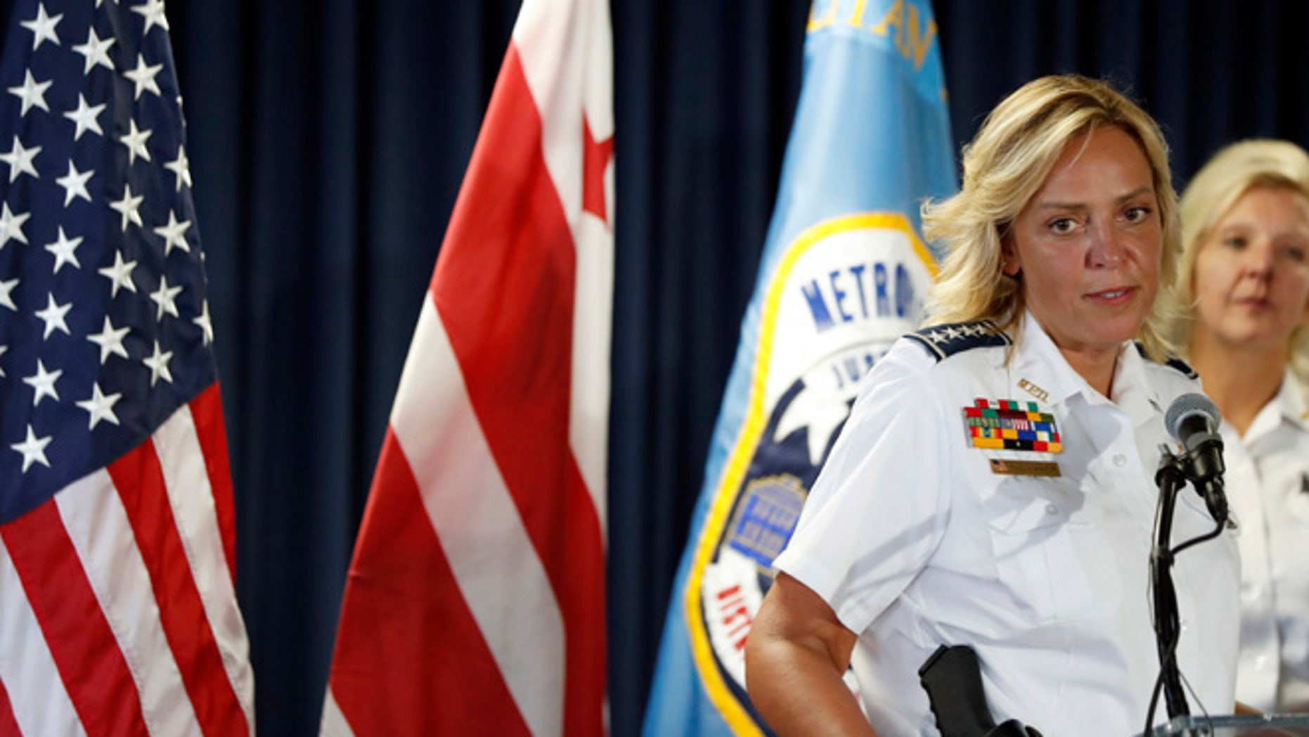 Washington police chief Cathy Lanier speaks during a news conference, Tuesday, Aug. 16, 2016 in Washington.