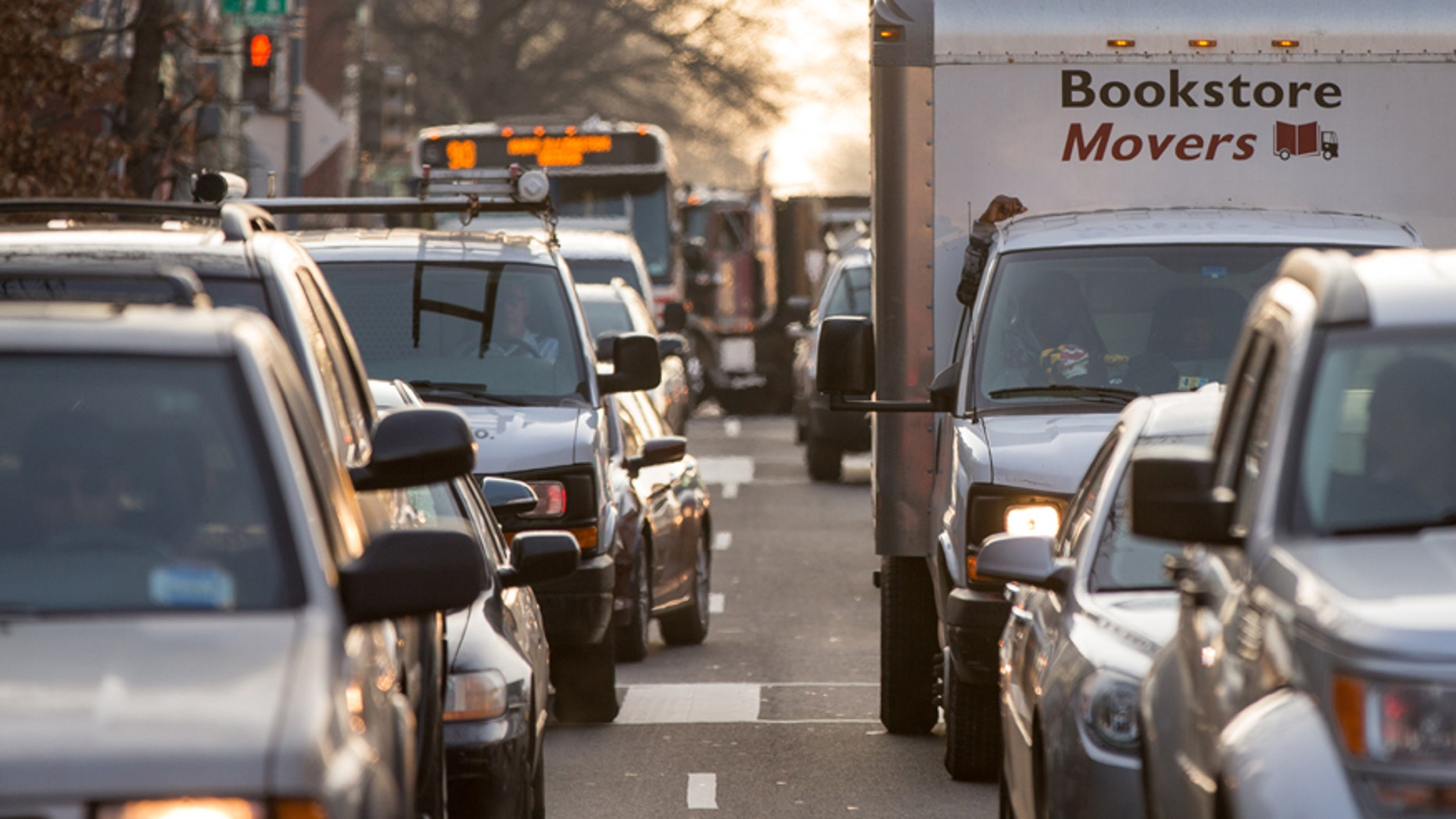 Cars sit in traffic along Florida Avenue in the Shaw neighborhood, in Washington, Wednesday, March 16, 2016.