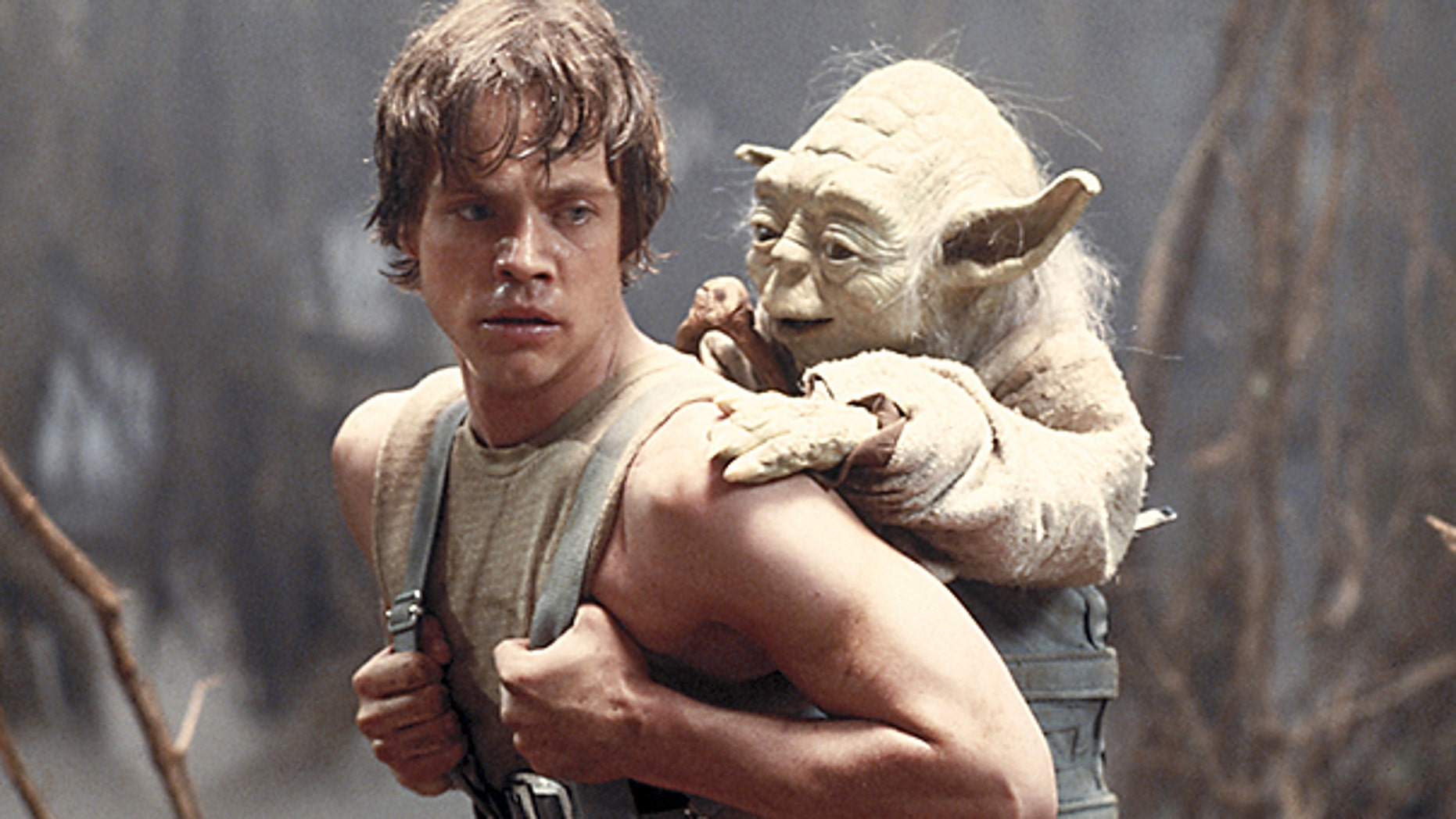 This 1980 publicity image originally released by Lucasfilm Ltd. shows Mark Hamill as Luke Skywalker and the character Yoda in a scene from 'Star Wars Episode V: The Empire Strikes Back.'
