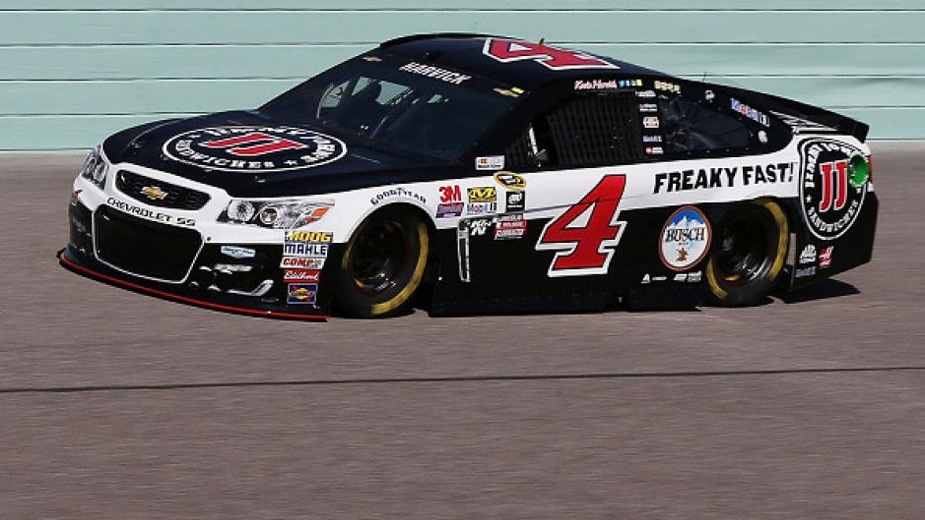 HOMESTEAD, FL - NOVEMBER 18: Kevin Harvick, driver of the #4 Jimmy John's Chevrolet, practices for the NASCAR Sprint Cup Series Ford EcoBoost 400 at Homestead-Miami Speedway on November 18, 2016 in Homestead, Florida. (Photo by Sean Gardner/NASCAR via Getty Images)
