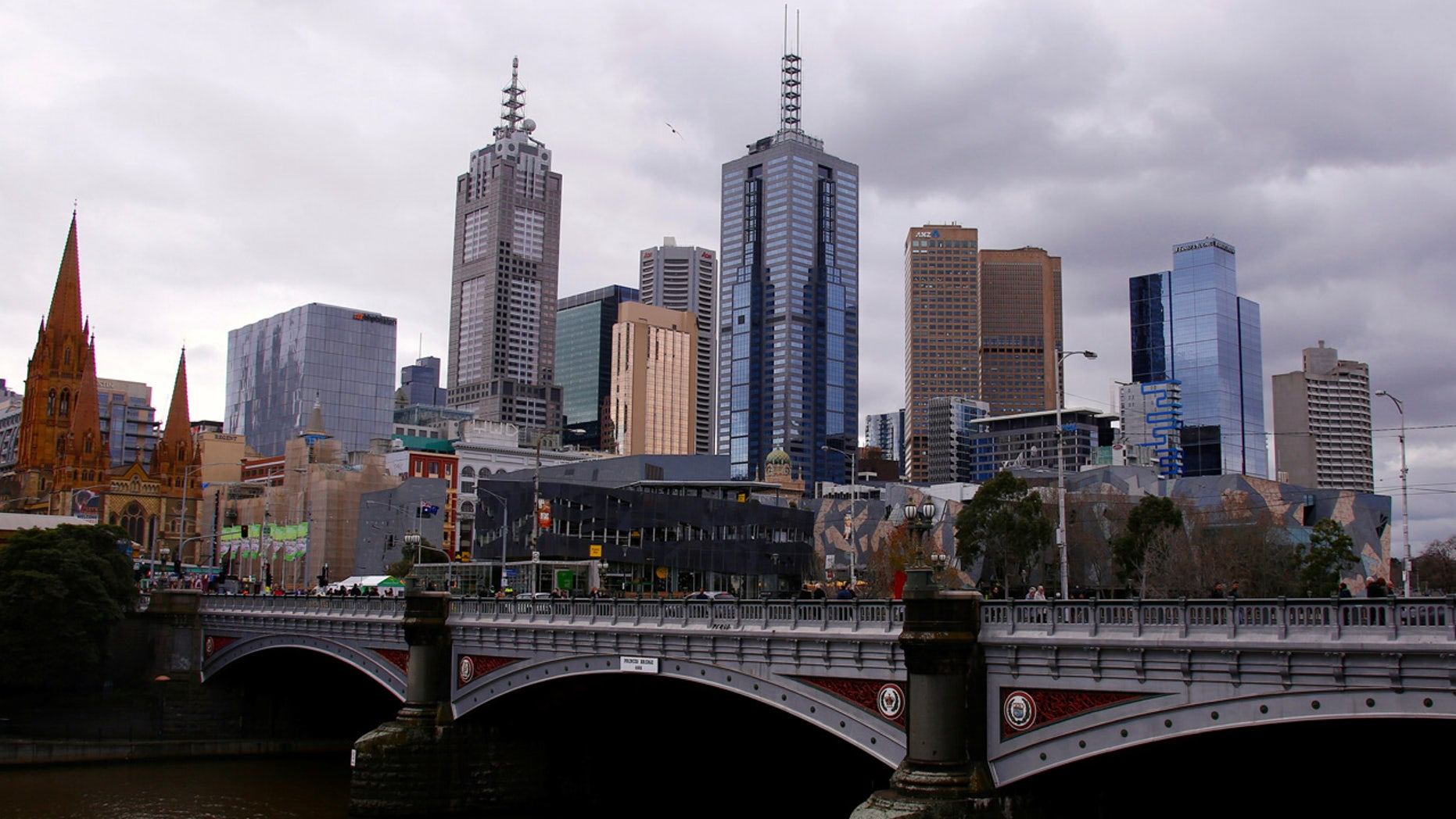 The central business district (CBD) of Melbourne can be seen from the area located along the Yarra River called Southbank located in Melbourne, Australia.