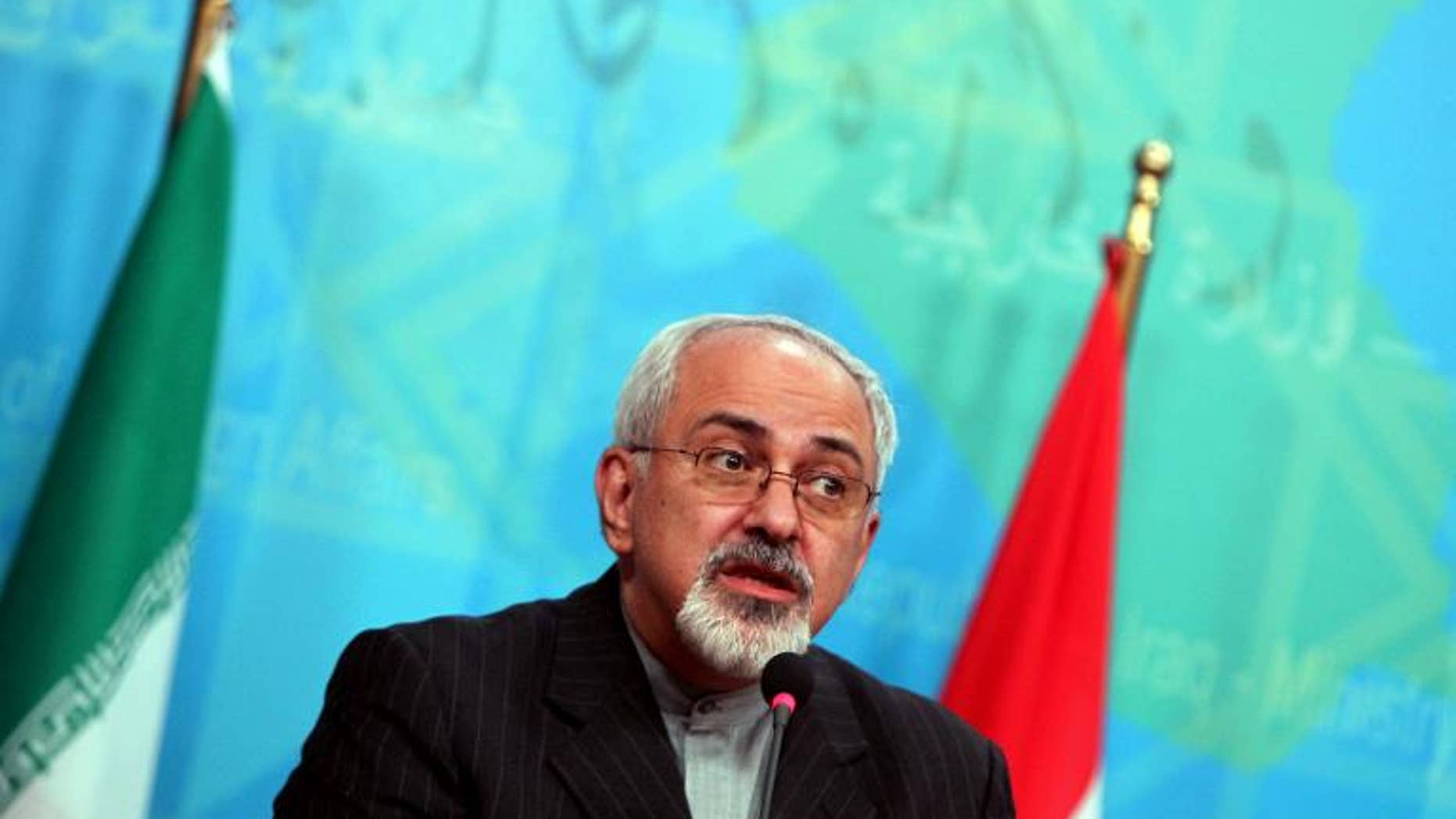 Iranian Foreign Minister Mohammad Javad Zarif speaks during a press conference in Baghdad on September 8, 2013