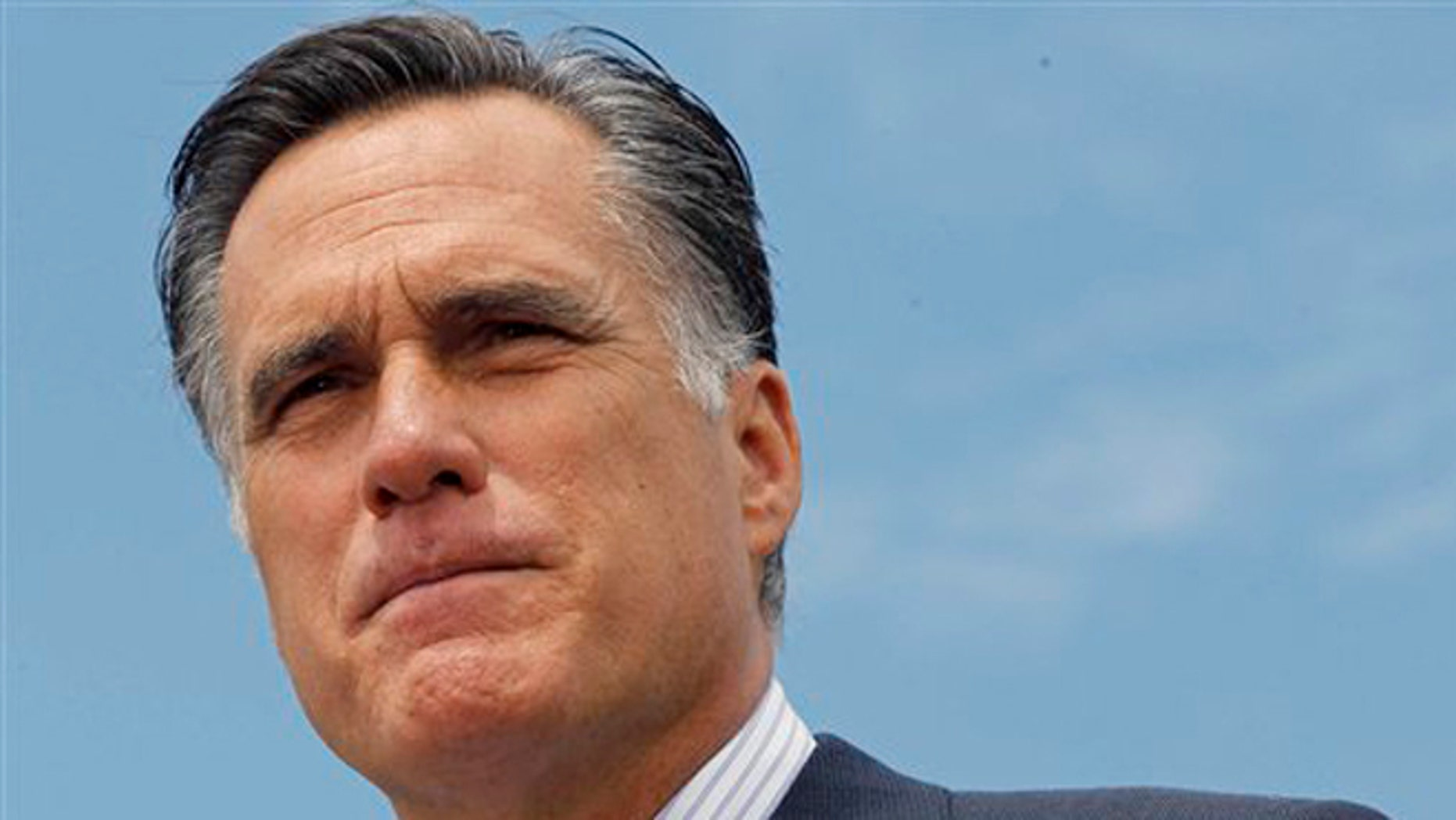 Republican presidential candidate, former Massachusetts Gov. Mitt Romney, speaks at a campaign event in Bow, N.H., Friday, July 20, 2012. Romney auditions on the international stage next week as he travels to England, Israel and Poland looking to establish credibility as a potential commander in chief in his challenge to President Barack Obama. (AP Photo/Charles Dharapak)