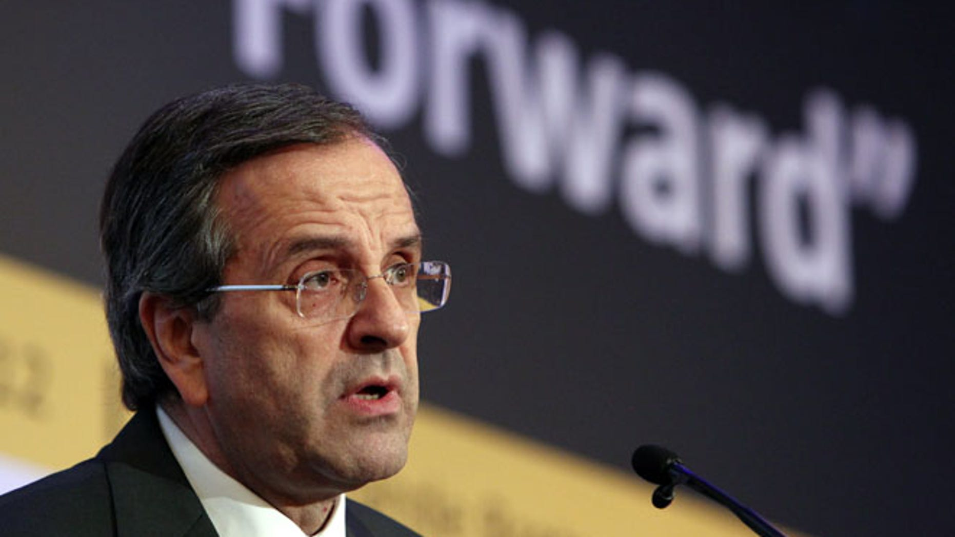 Oct. 15, 2012: Thisfile photo shows Greece's Prime Minister Antonis Samaras delivers a speech in a forum of International Herald Tribune in Athens.