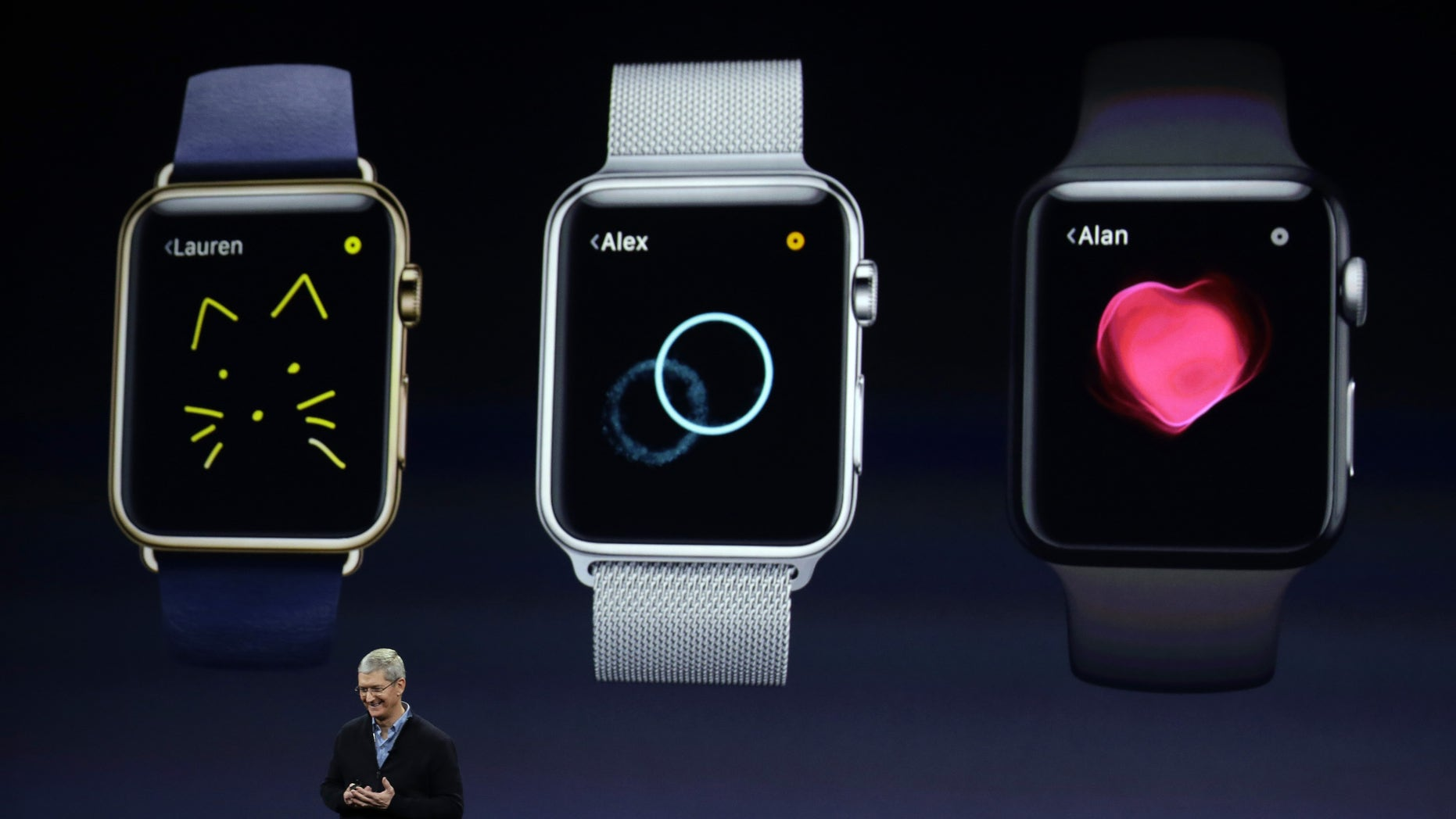 File photo: Apple CEO Tim Cook talks about the new Apple Watch during an Apple event on Monday, March 9, 2015, in San Francisco. (AP Photo/Eric Risberg)