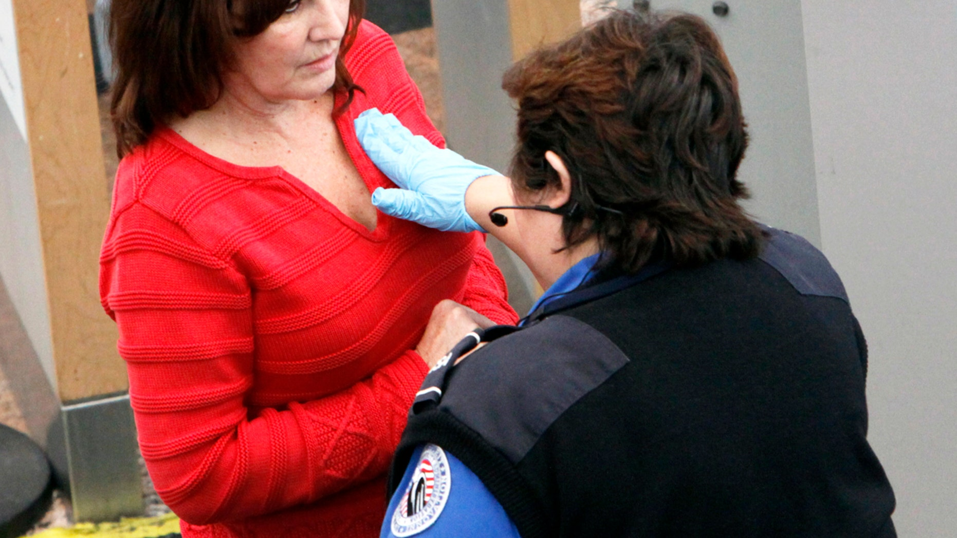 A Los Angeles-area mother says a TSA agent got too rough will performing a security check.
