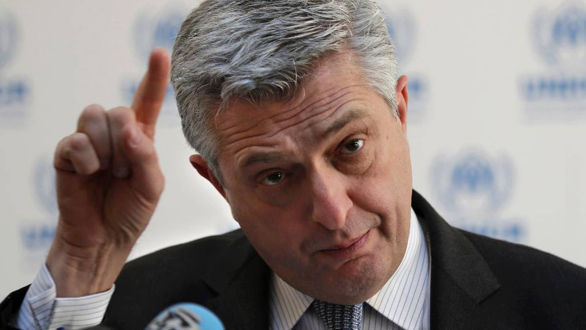 "Filippo Grandi, the head of U.N. refugee agency UNHCR, gestures as he speaks during a press conference, in Beirut, Lebanon, Friday, Feb. 3, 2017. Grandi pushed back against the increasingly favored initiative to create safe zones in Syria for refugees, saying the country was ""not the right place"" to guarantee refugee safety. (AP Photo/Hussein Malla)"