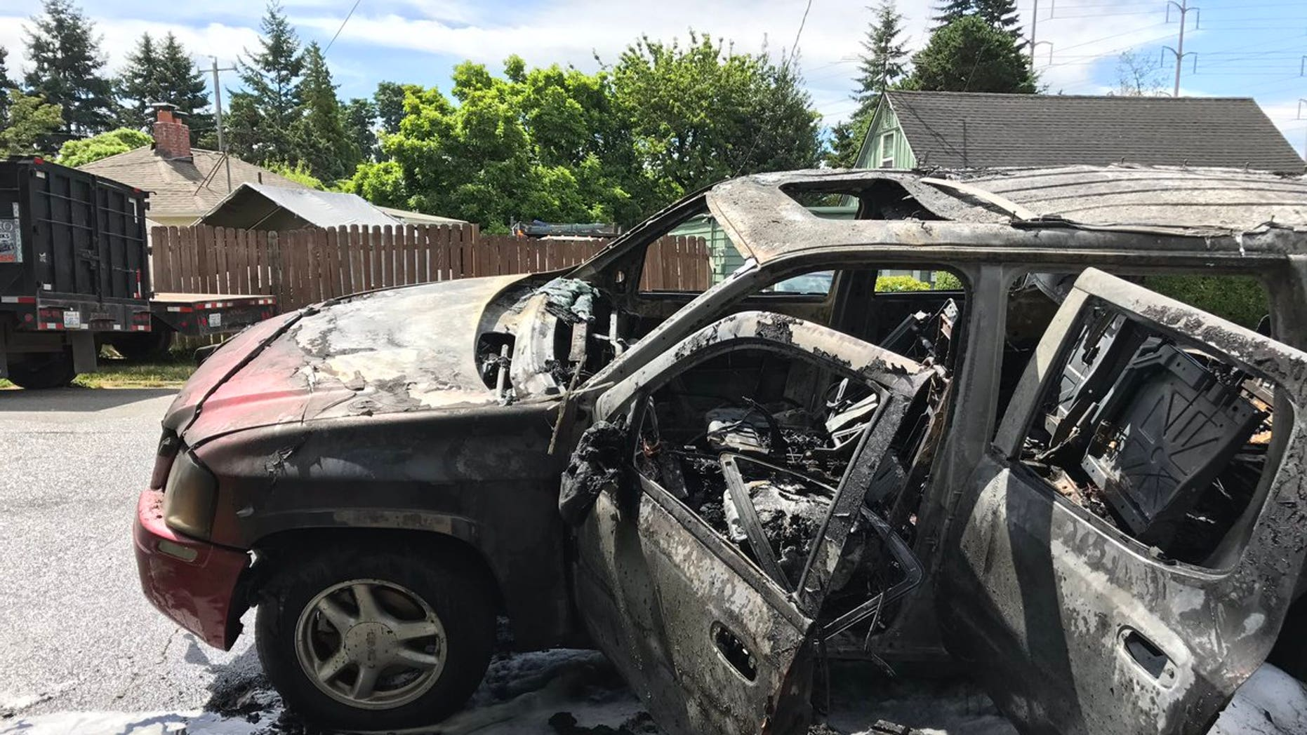 Burnt car after 14-year-old and friends have Roman Candle fight.