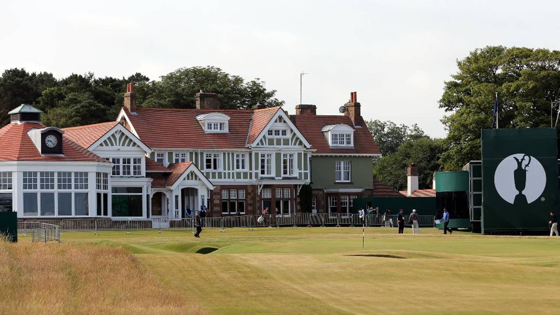 FILE - This is a Sunday, July 14, 2013 file photo of the clubhouse at Muirfield golf course in Muirfield. Muirfield, one of the golf clubs that hosts the British Open, has voted against allowing women to become members. The decision was announced Thursday May 19, 2016 after a vote of Muirfield's 750 members following a two-year consultation process at the Scottish club. (AP Photo/Scott Heppell, File)
