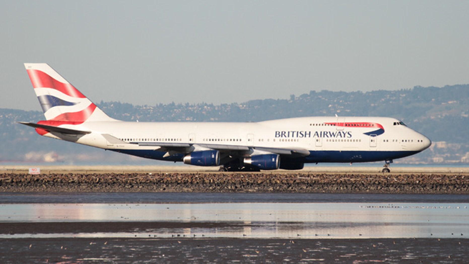 A British Airways Boeing 747-400 taxis at San Francisco International Airport