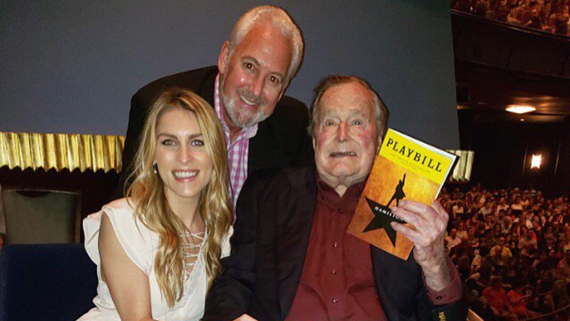 """Former President George H.W. Bush attended a performance of """"Hamilton"""" in Houston on Saturday."""