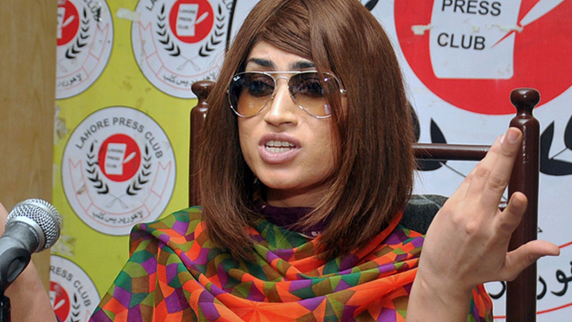 In this picture taken on June 28, 2016, Pakistani fashion model Qandeel Baloch speaks during a press conference in Lahore, Pakistan.