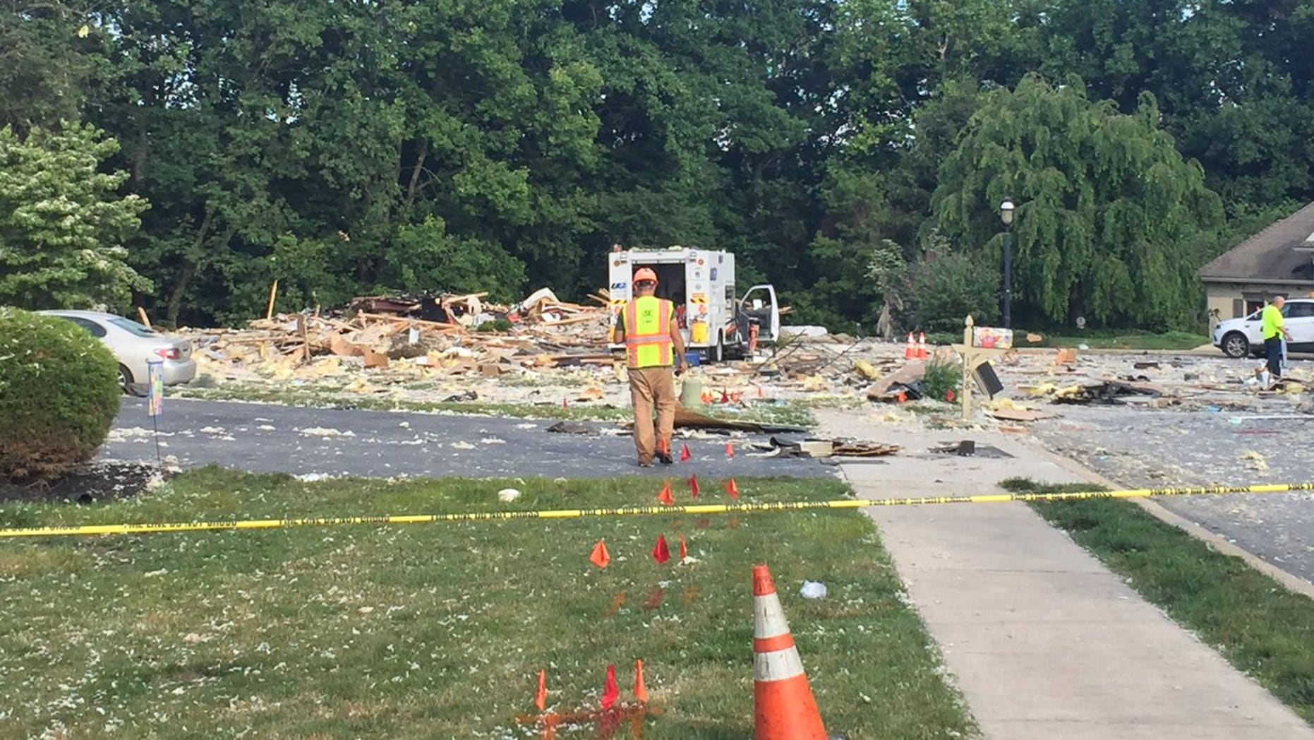 The aftermath of the house explosion in Manor Township, Lancaster County, Pennsylvania.