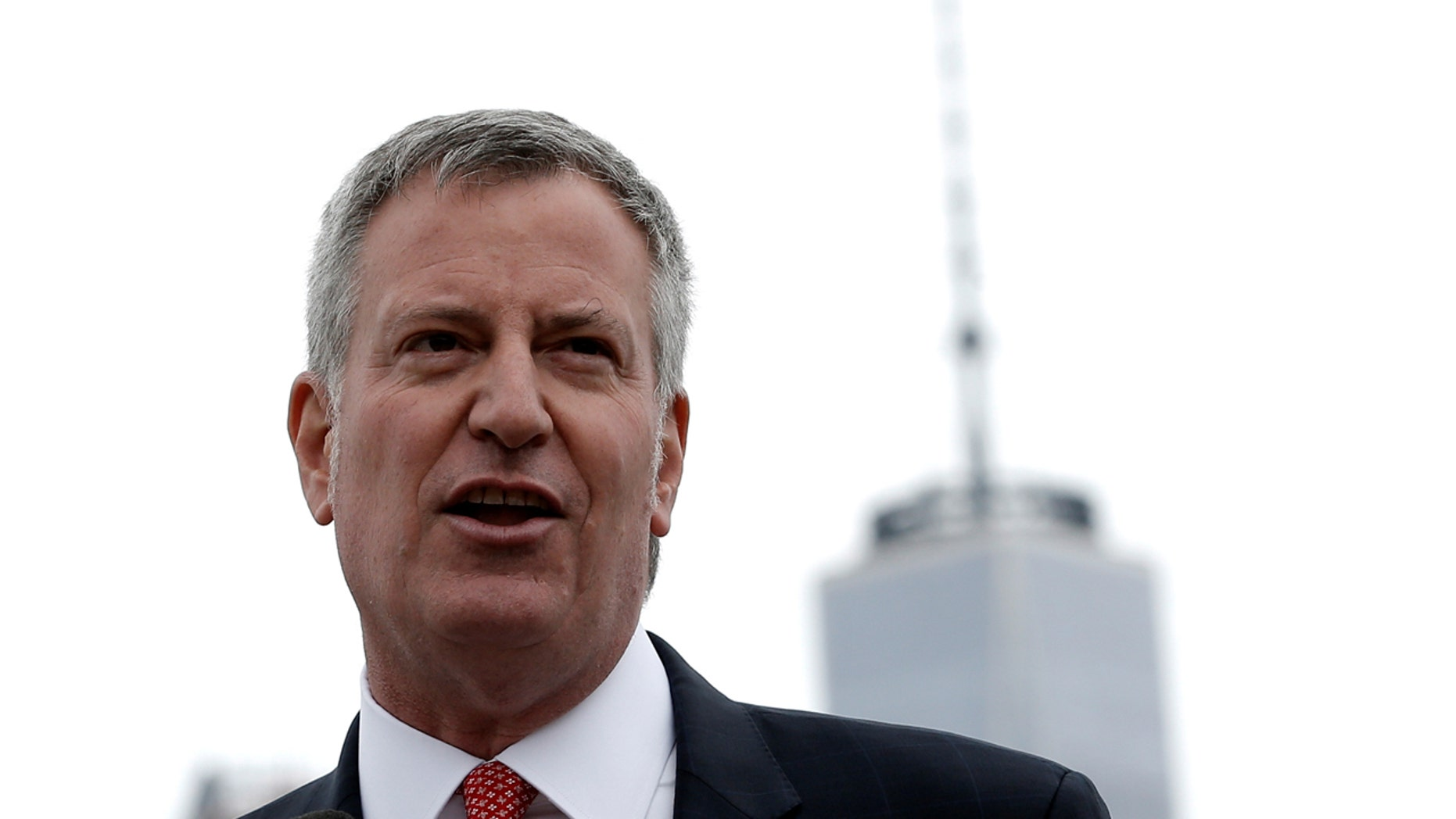 New York City Mayor Bill de Blasio is seen speaking in Brooklyn.