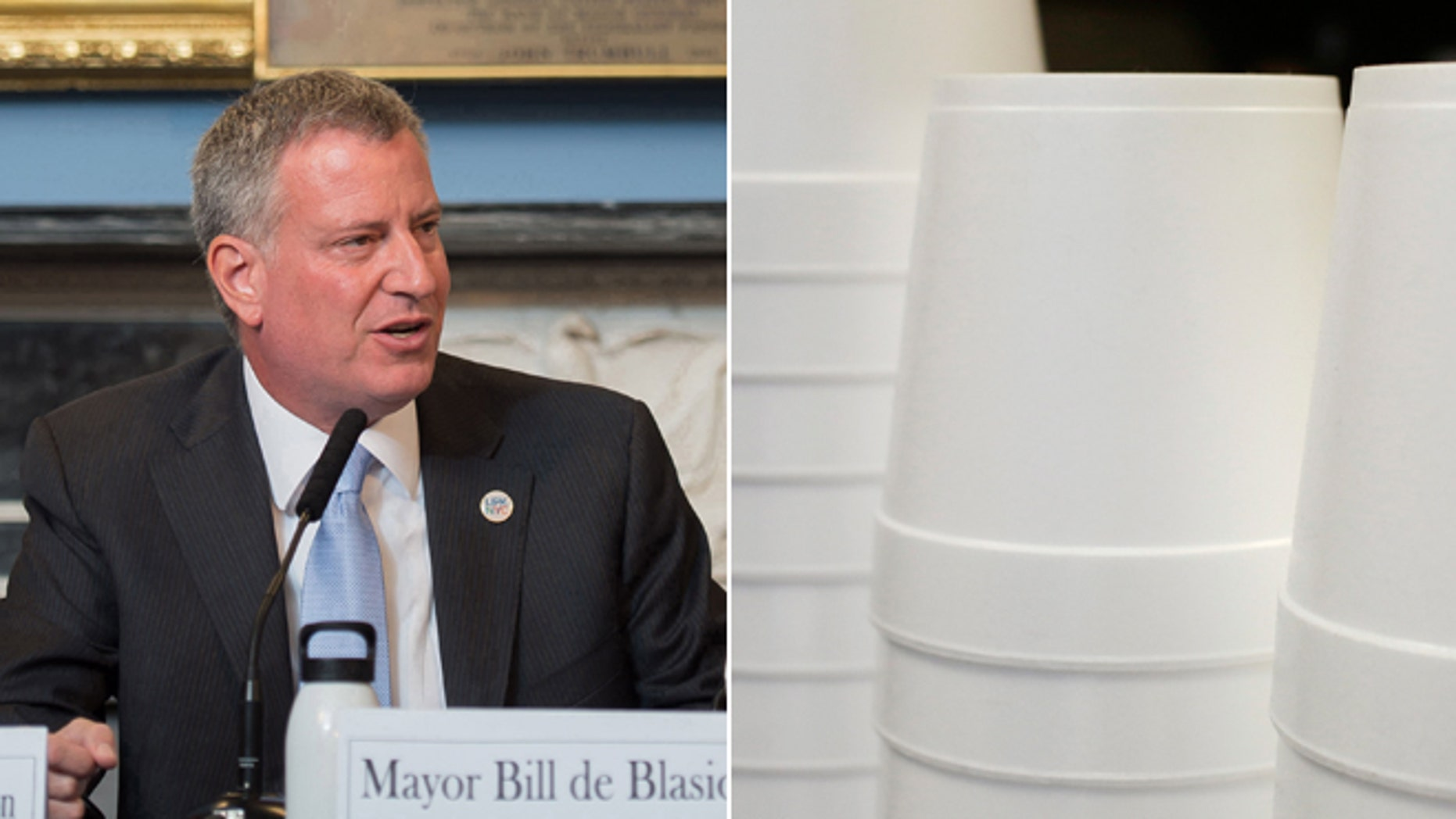 This July 31, 2014 file photo provided by the New York City Mayoral Photography Office shows New York Mayor Bill de Blasio and this Feb. 14, 2013 file photo shows foam soup containers stacked in a New York restaurant.