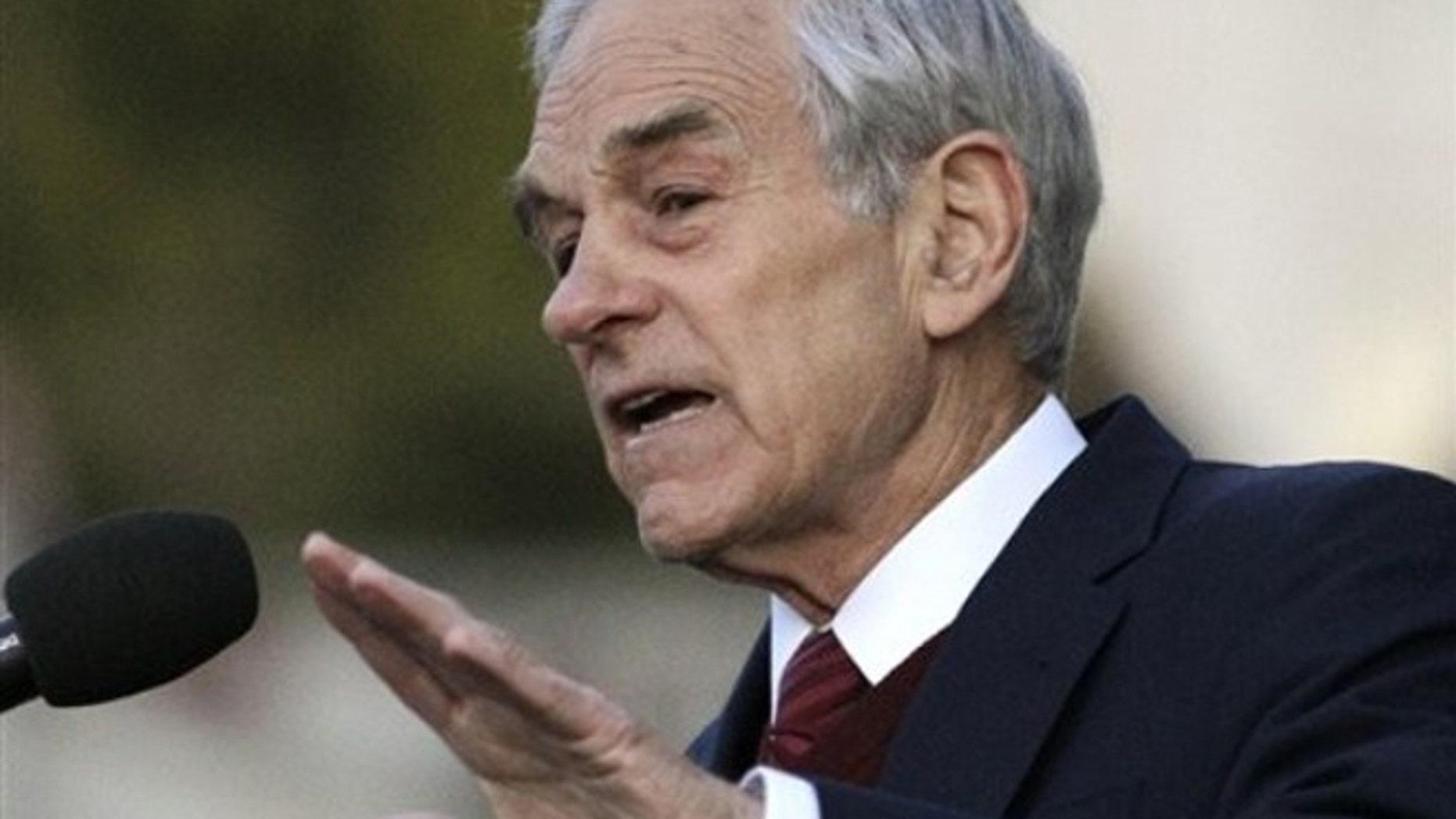 FILE: April 5, 2012: Rep. Ron Paul speaks in Berkeley, Calif.