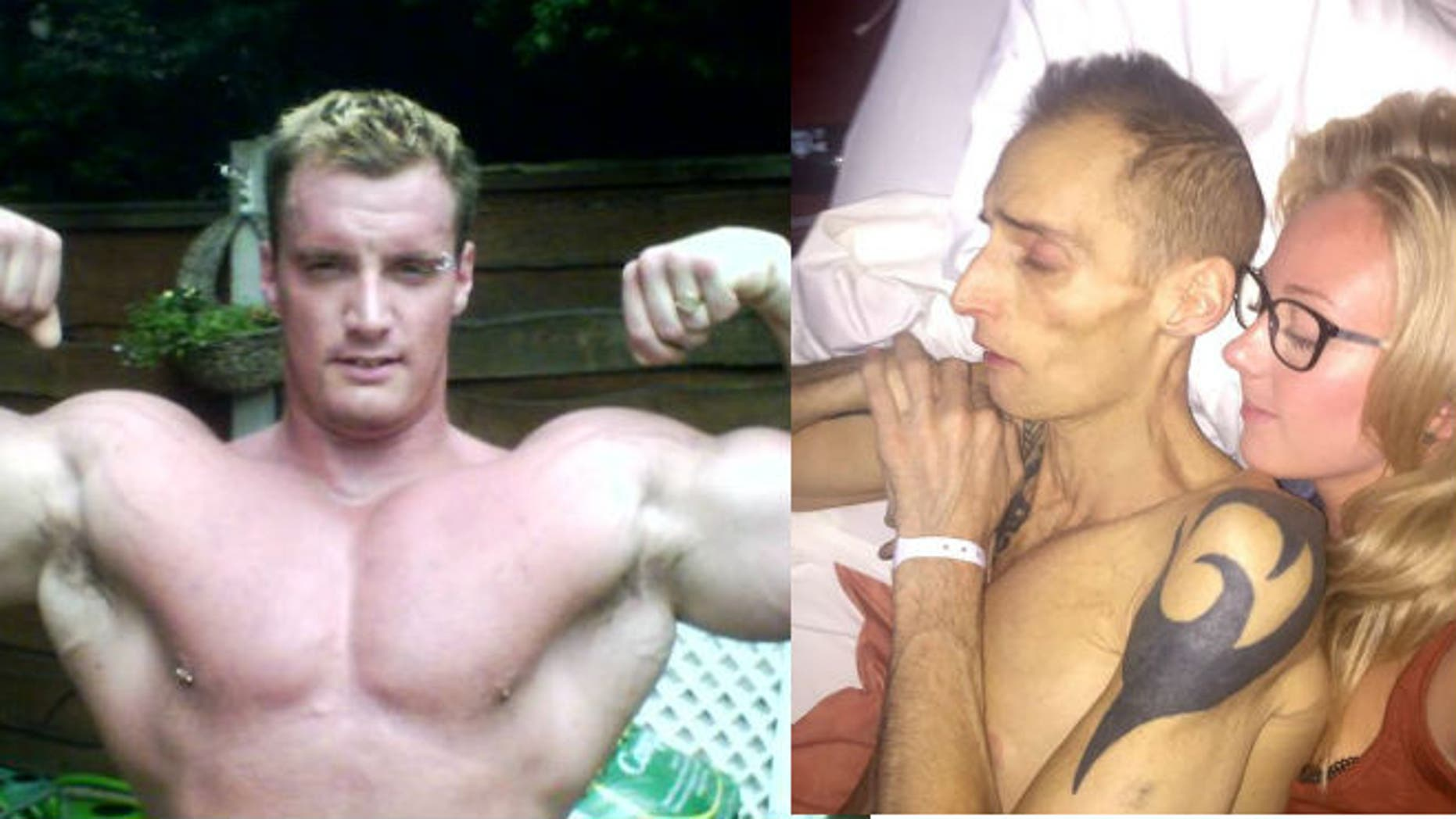Wharmby in 2007 (left) and in July 2015 (right, with his partner, Charlotte) (images via Facebook)