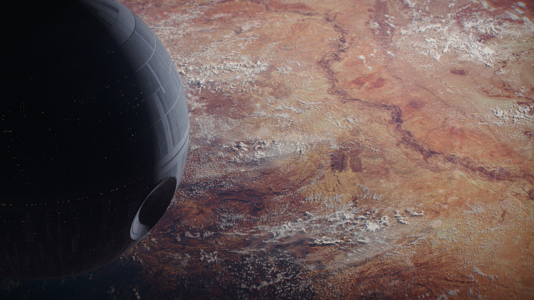 """The Death Star looms large in this still from the new film """"Rogue One: A Star Wars Story"""" hitting theaters on Dec. 16, 2016."""