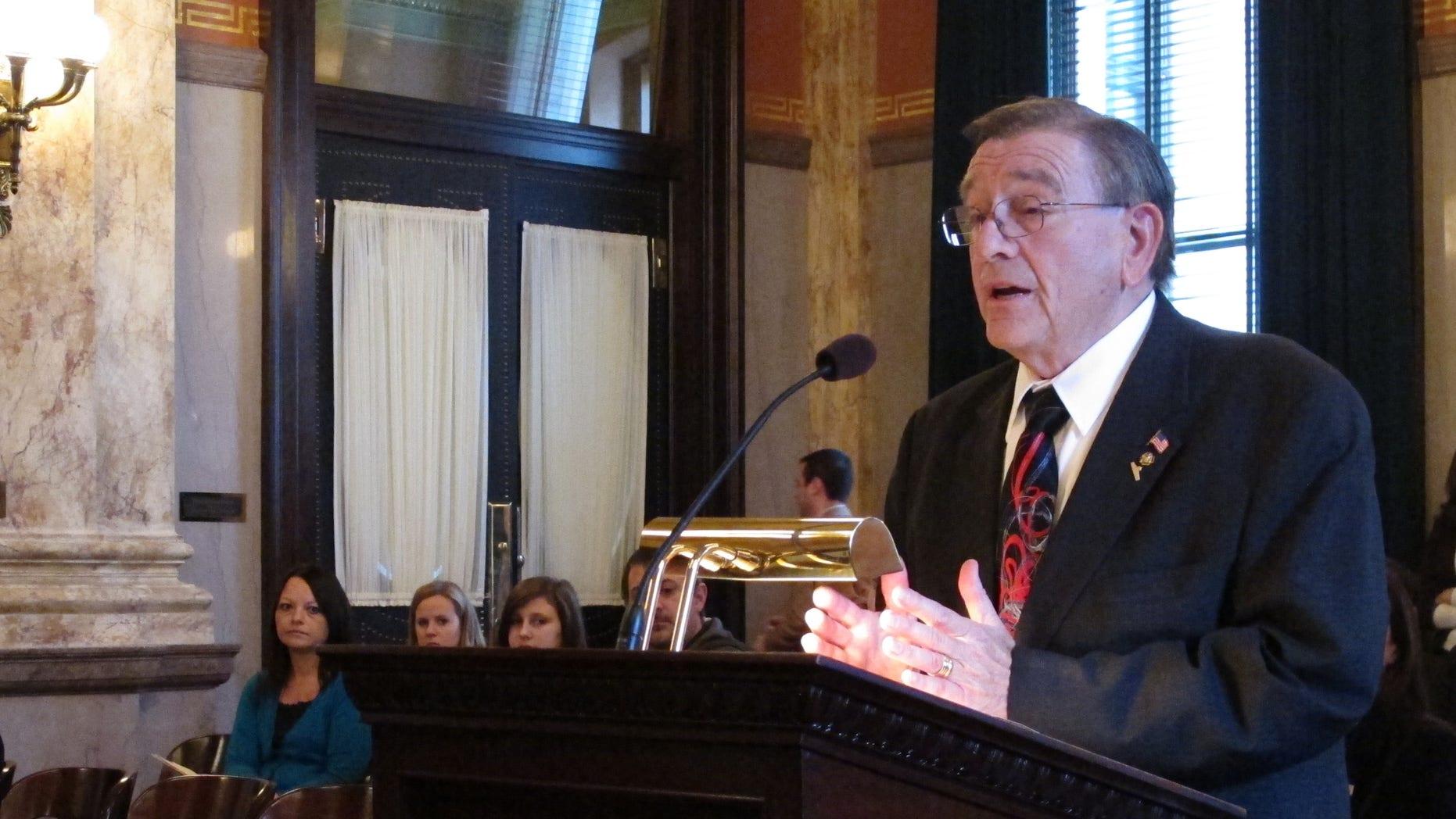 Dec. 2, 2014: Rep. Jim Buchy, a R-Greenville, testifies on Tuesday.