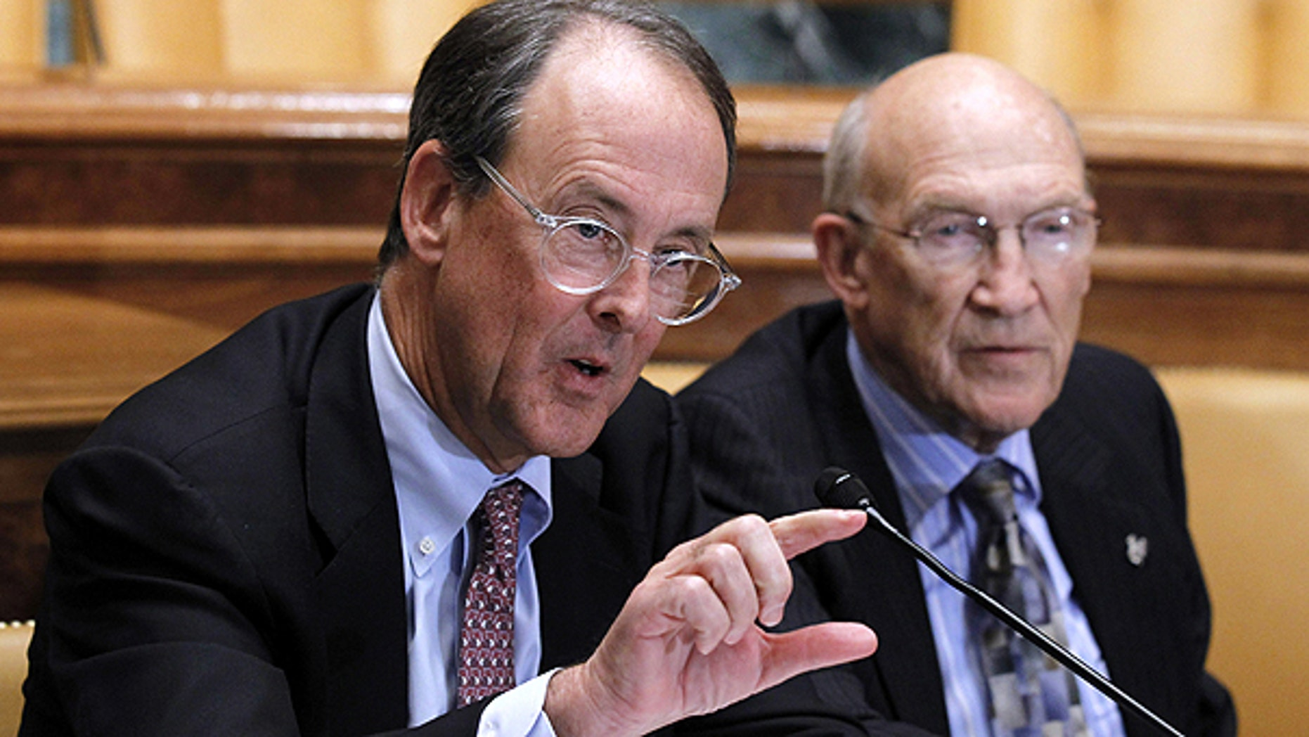 Nov. 10: Erskine Bowles, left, and former Wyoming Sen. Alan Simpson, co-chairmen of President Obama's bipartisan deficit commission, speaks on Capitol Hill.