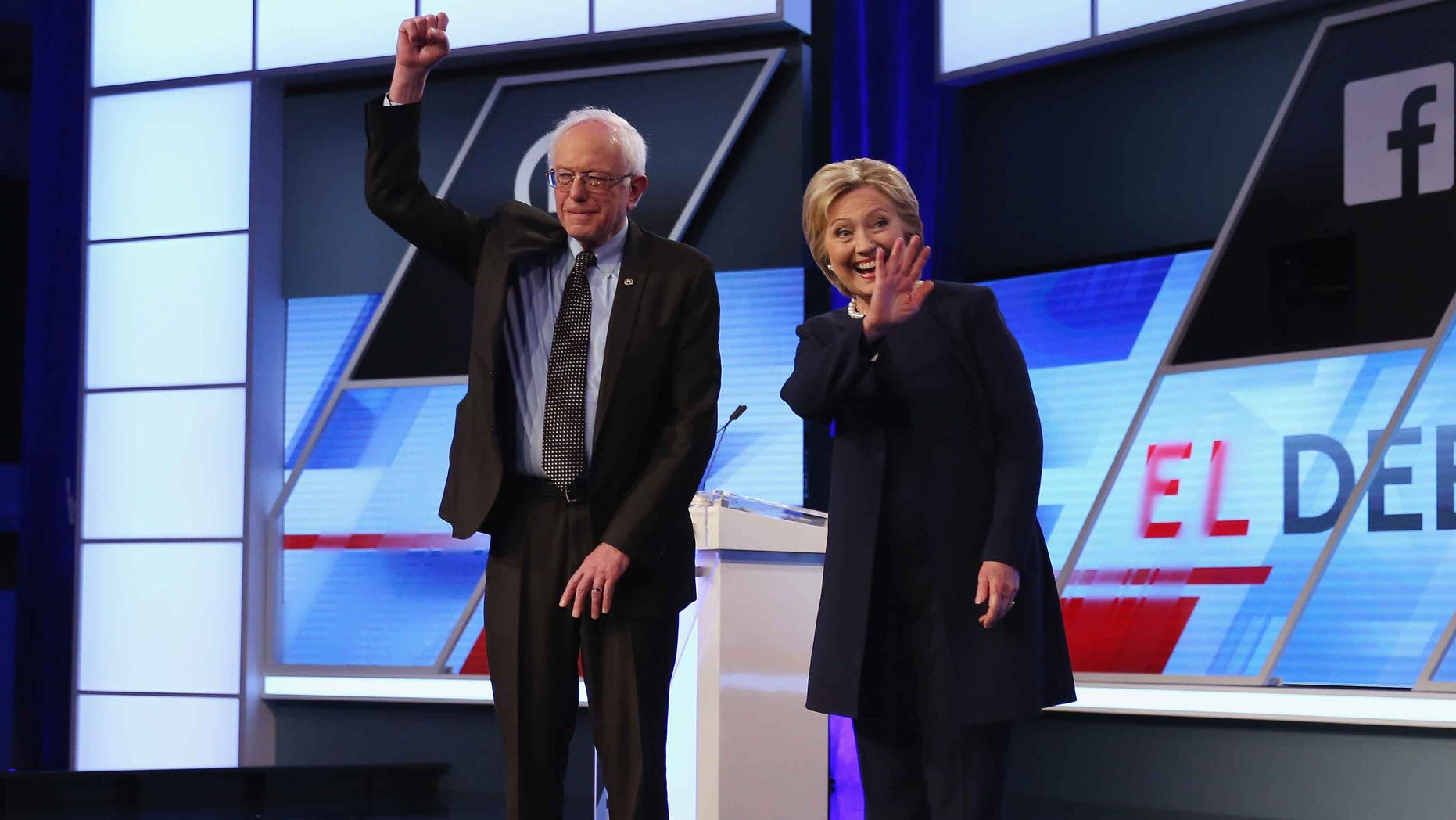 Presidential candidates Senator Bernie Sanders and Hillary Clinton on March 9, 2016 in Miami.
